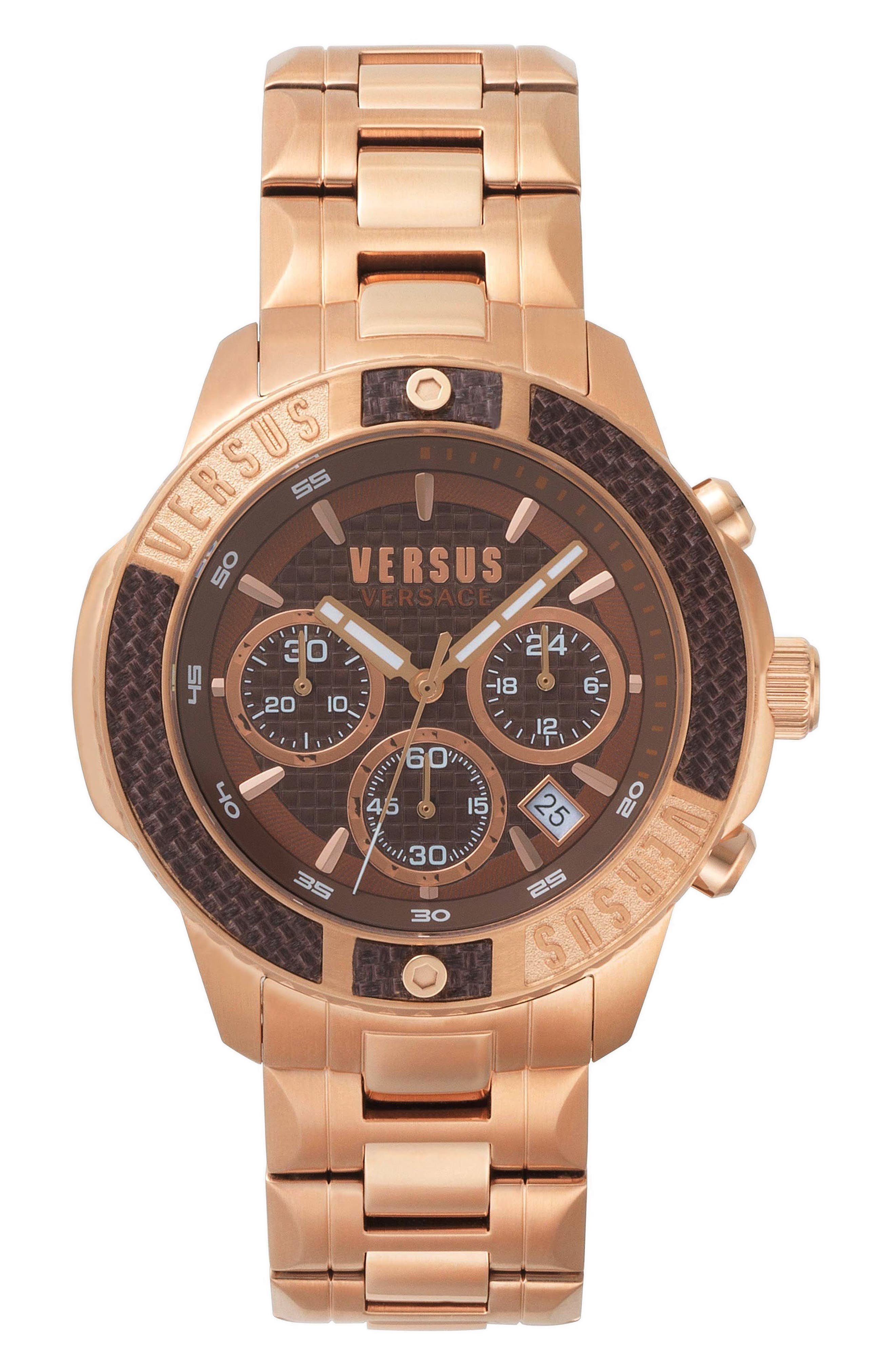 VERSUS by Versace Admiralty Chronograph Bracelet Watch, 44mm,                             Main thumbnail 1, color,                             Rose Gold/ Brown