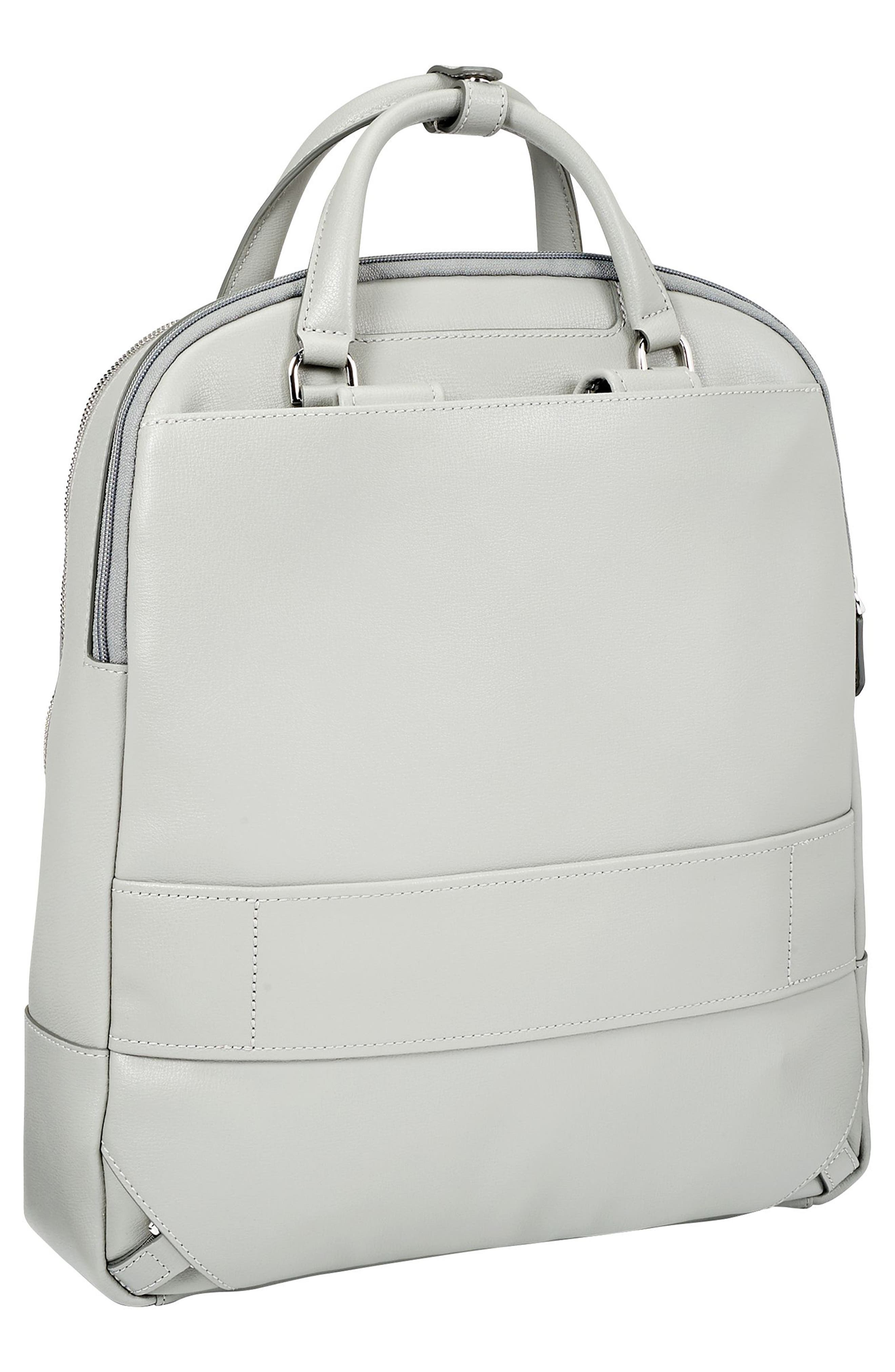Stanton Orion Leather Backpack,                             Alternate thumbnail 4, color,                             Light Grey