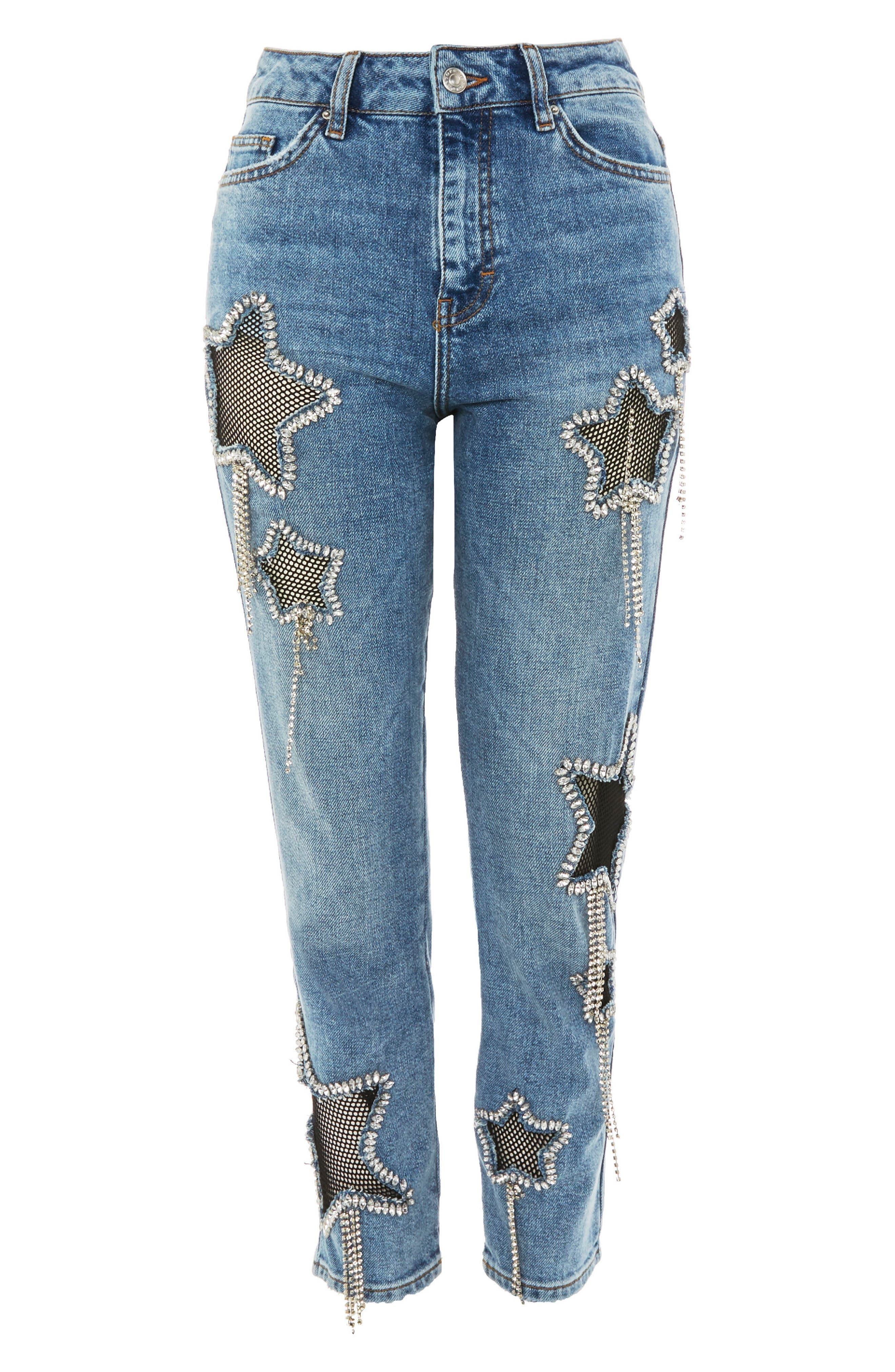 Topshop Bleach Diamante Star Jeans