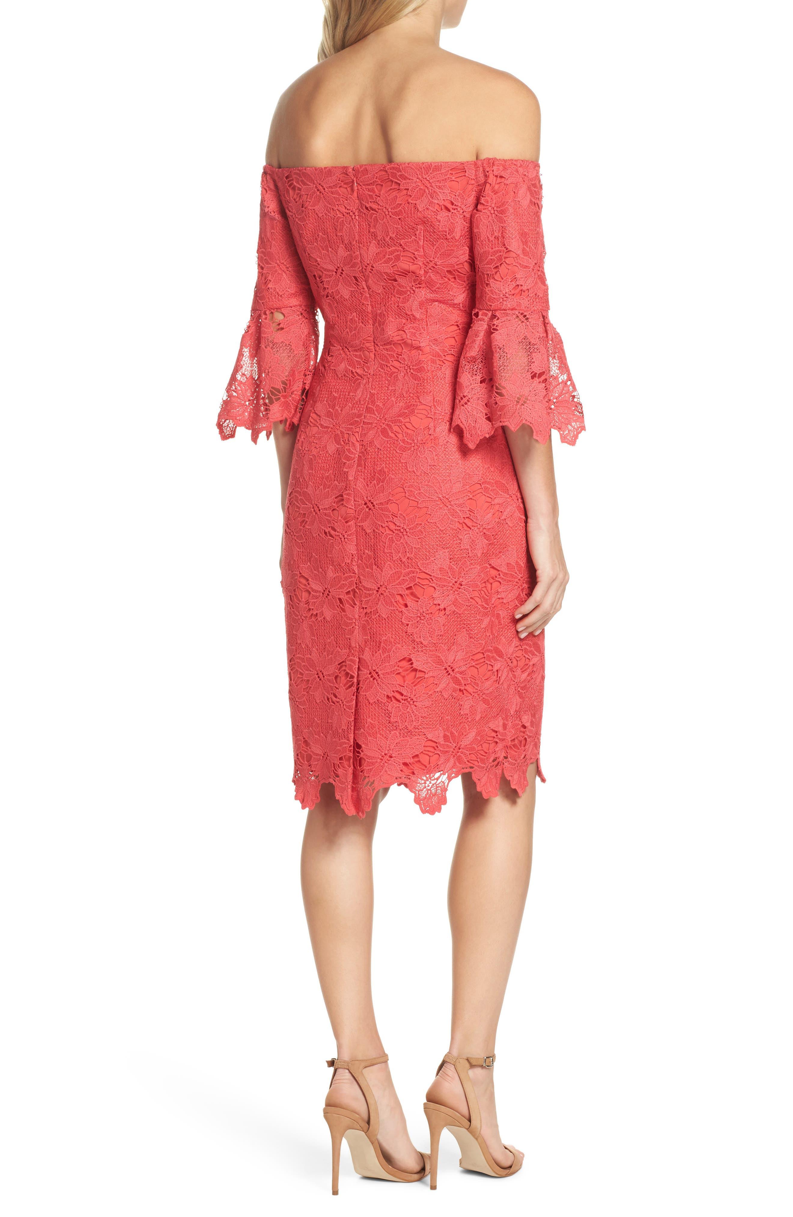 Poppy Off the Shoulder Lace Dress,                             Alternate thumbnail 2, color,                             Poppy