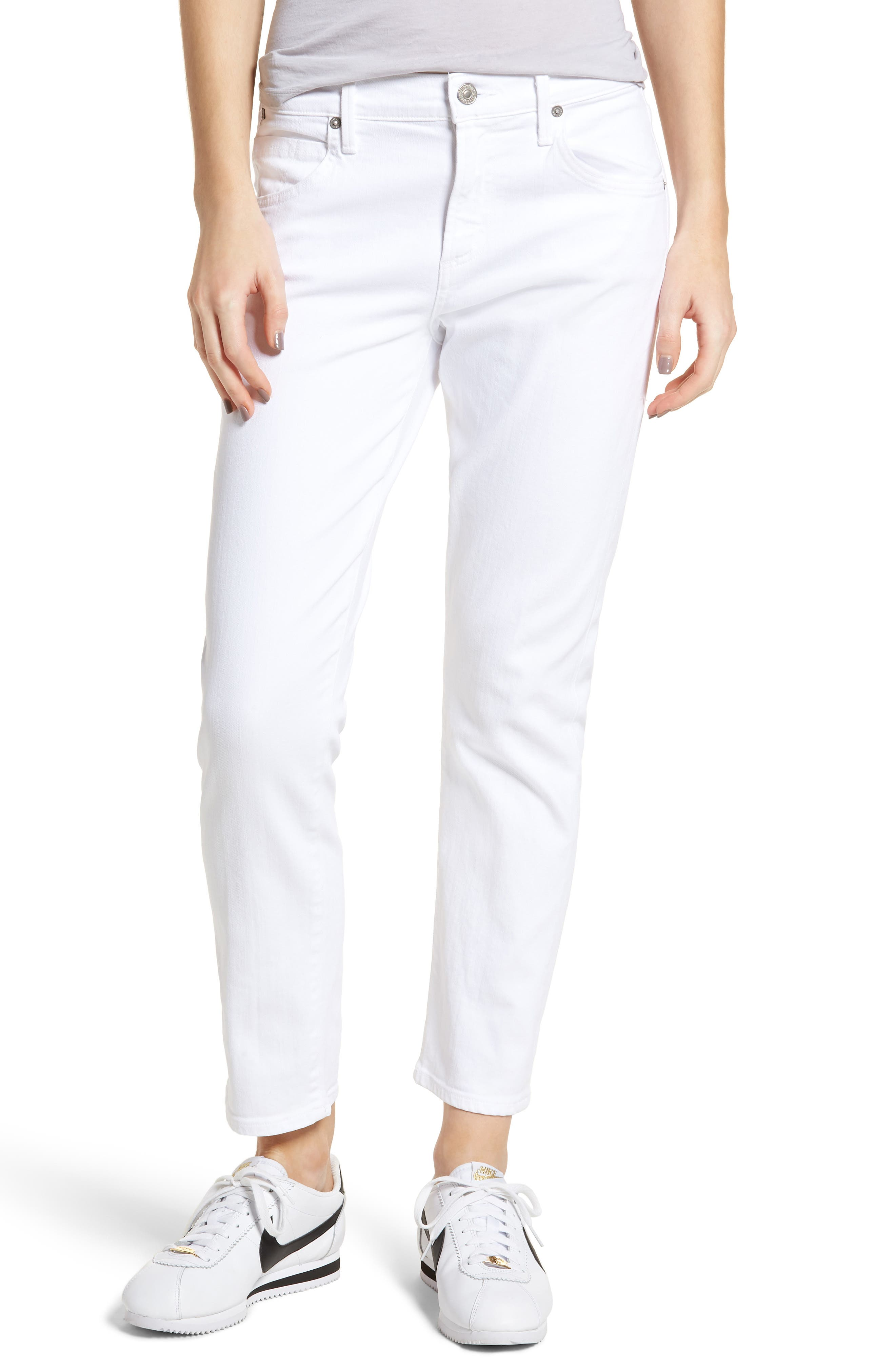 Elsa Ankle Skinny Jeans,                         Main,                         color, Optic White
