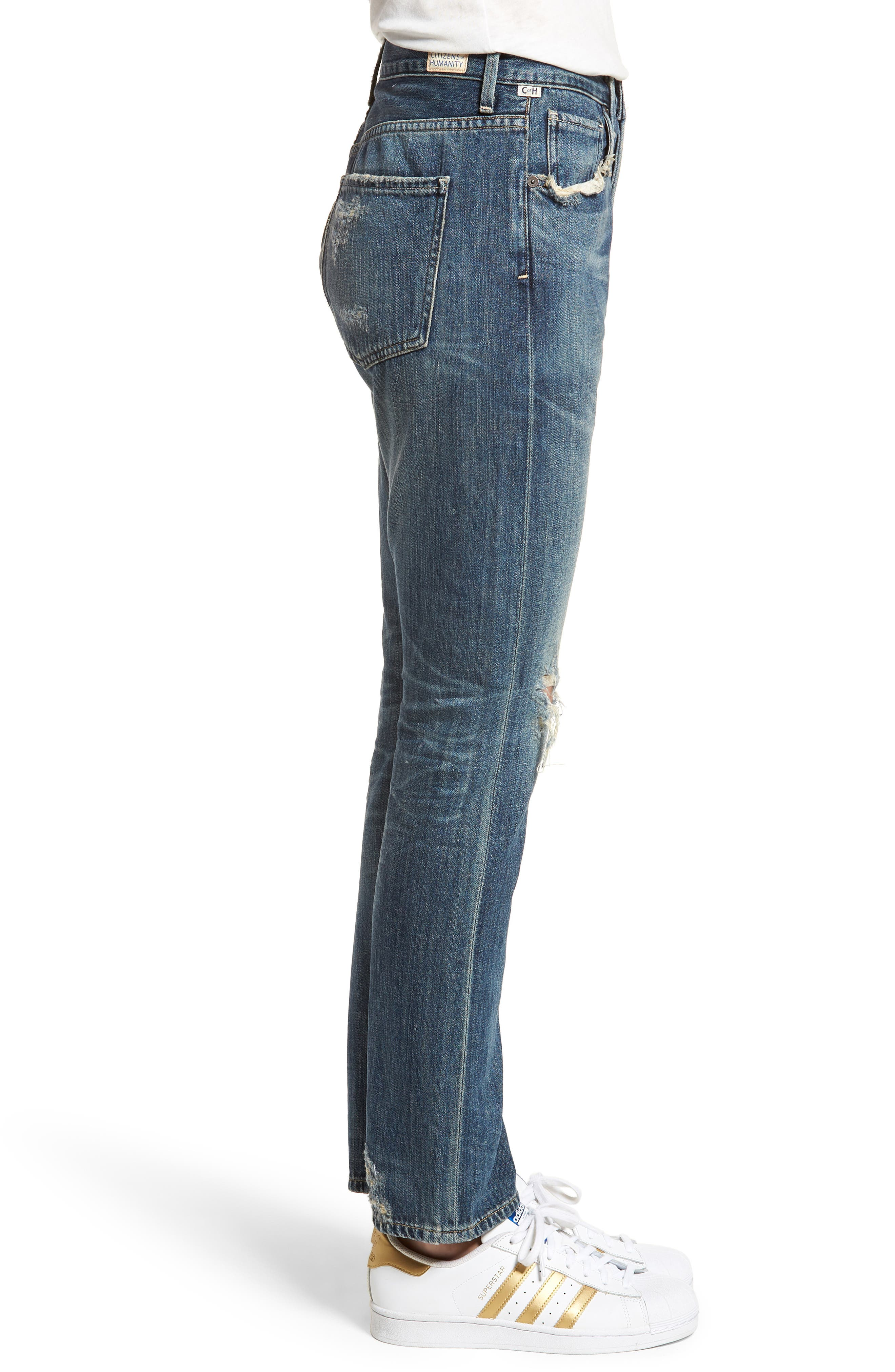Corey Ripped Slouchy Slim Jeans,                             Alternate thumbnail 3, color,                             Fade Away