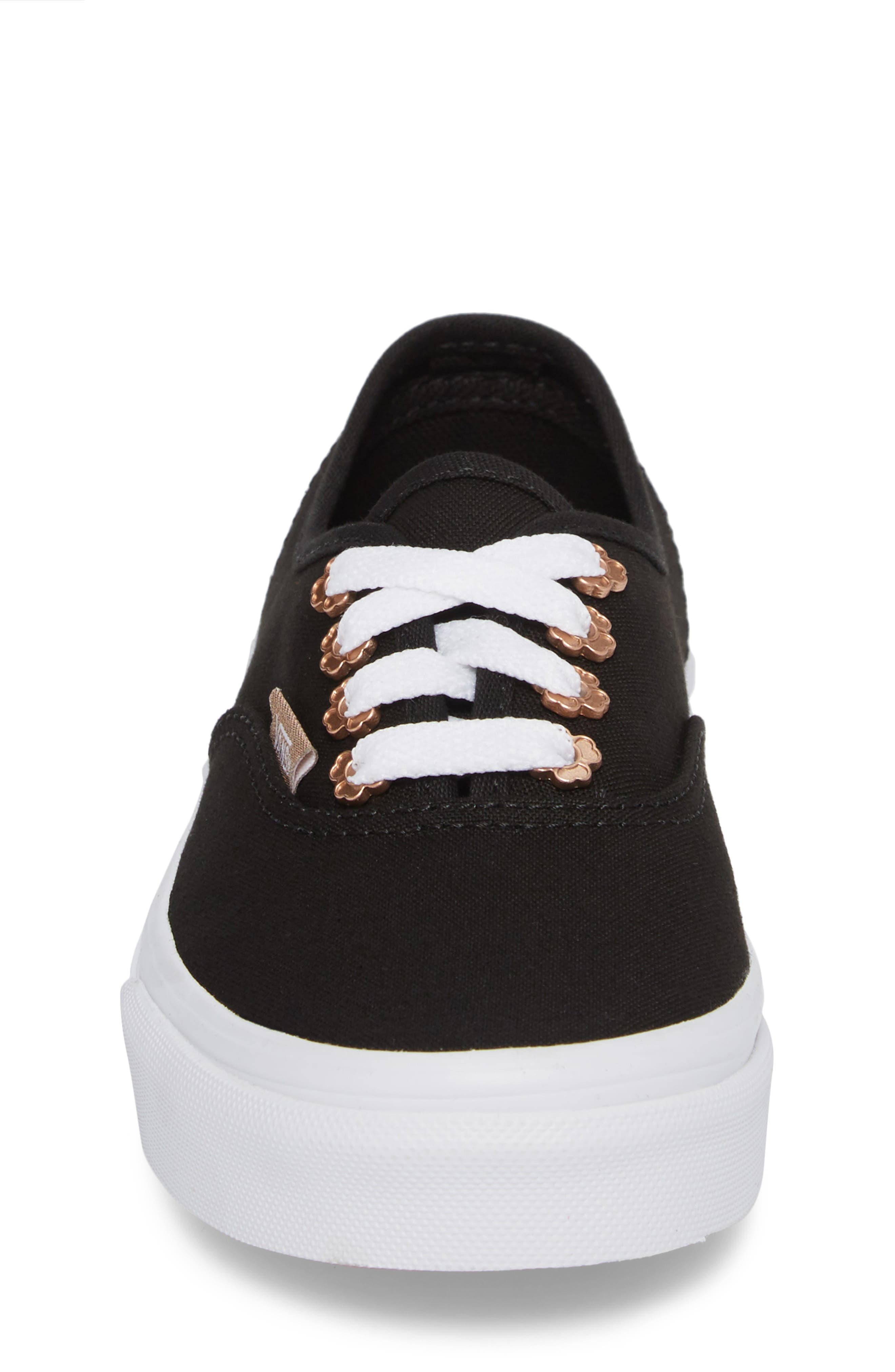 Authentic Sneaker,                             Alternate thumbnail 4, color,                             Black Flower Eyelet