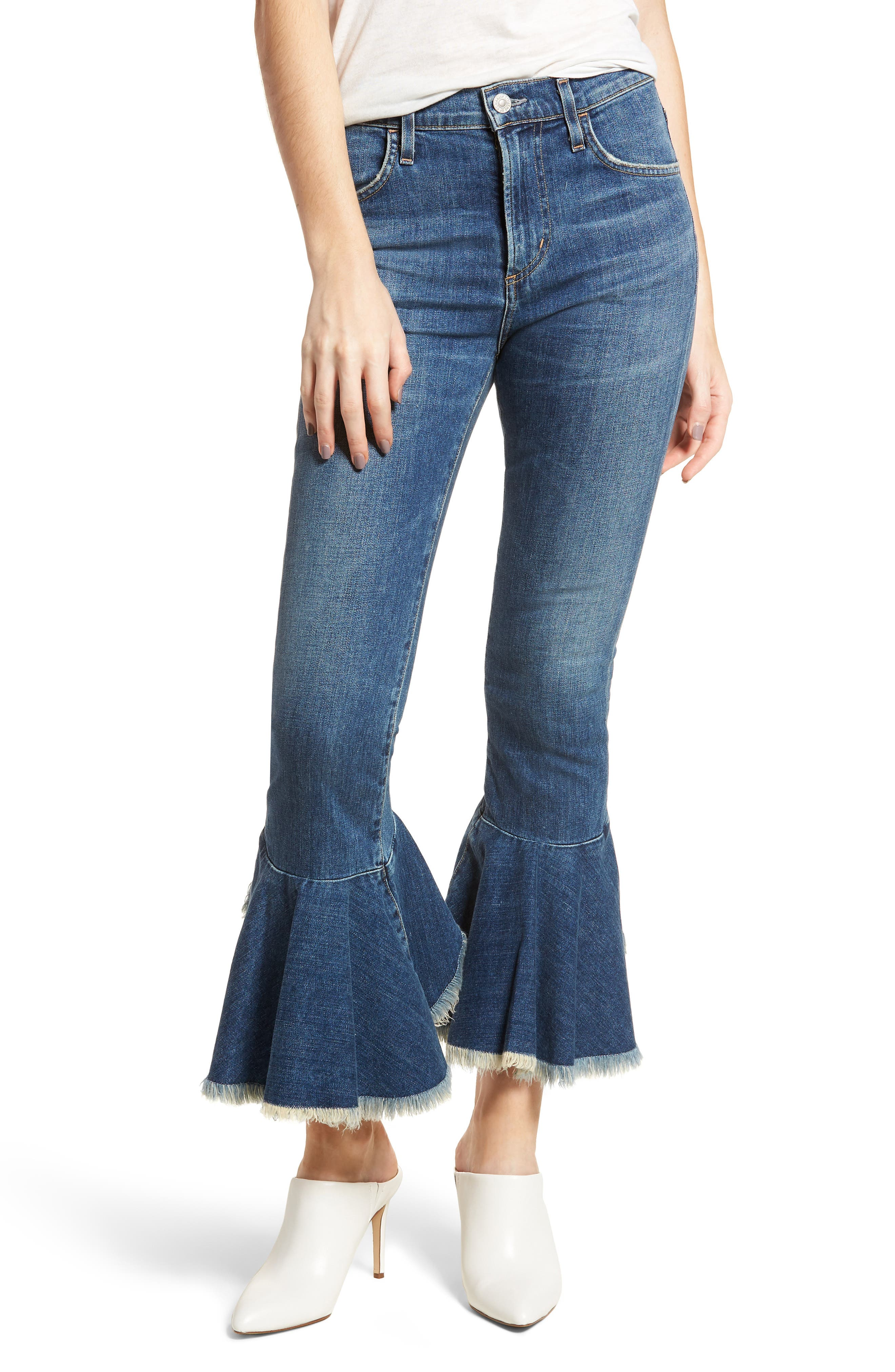 Drew Flounce Hem Crop Jeans,                             Main thumbnail 1, color,                             Chachacha