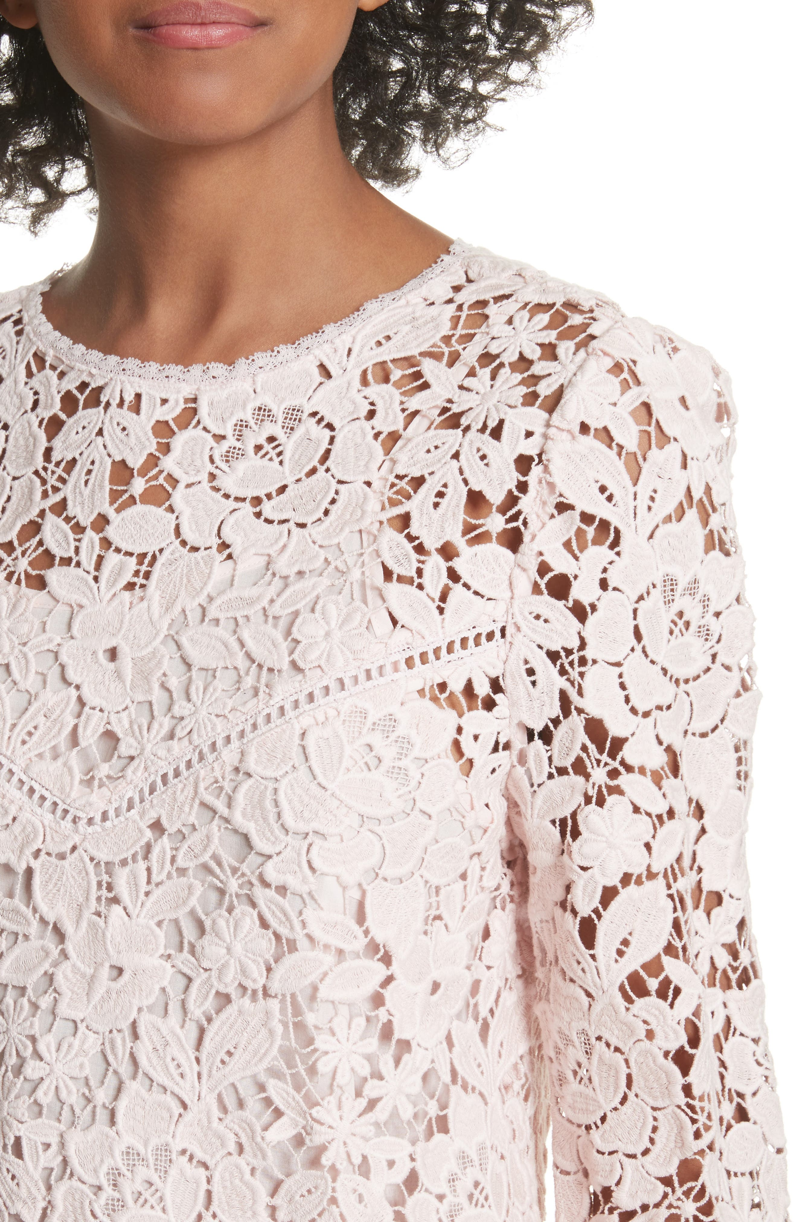 Charnette Lace Top,                             Alternate thumbnail 4, color,                             Rosewater