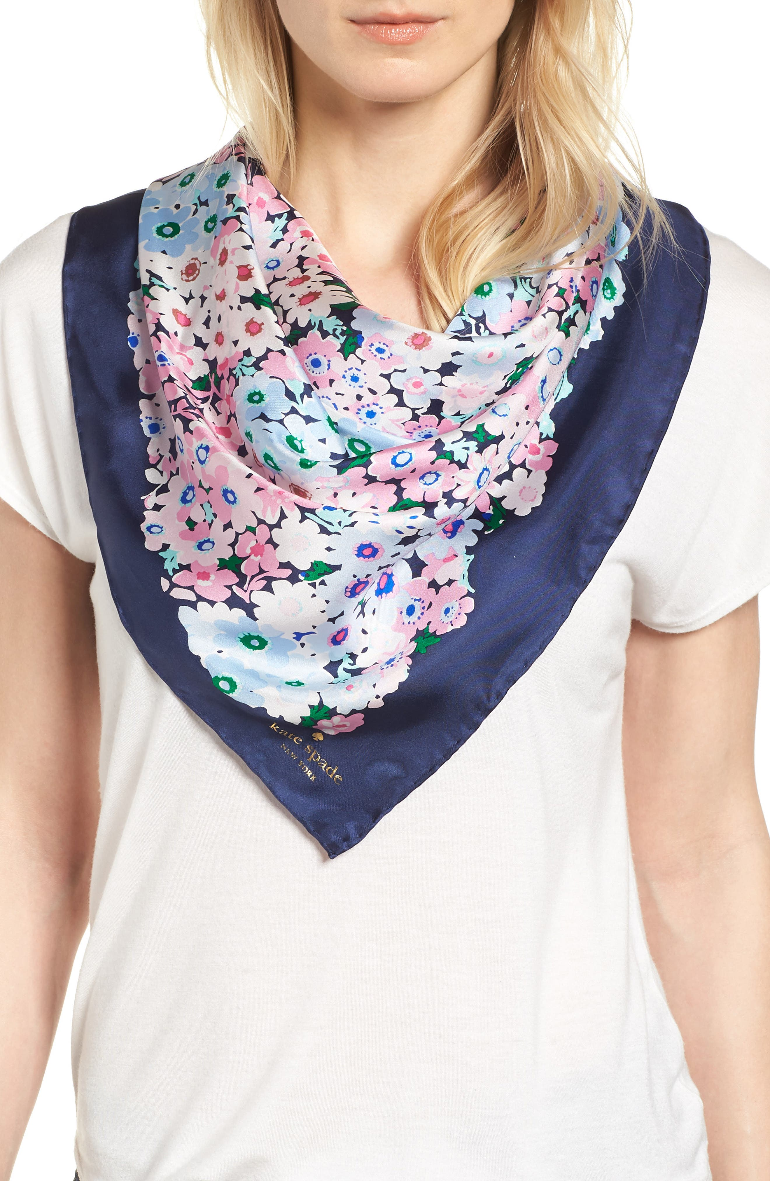 daisy garden square silk scarf,                         Main,                         color, Navy