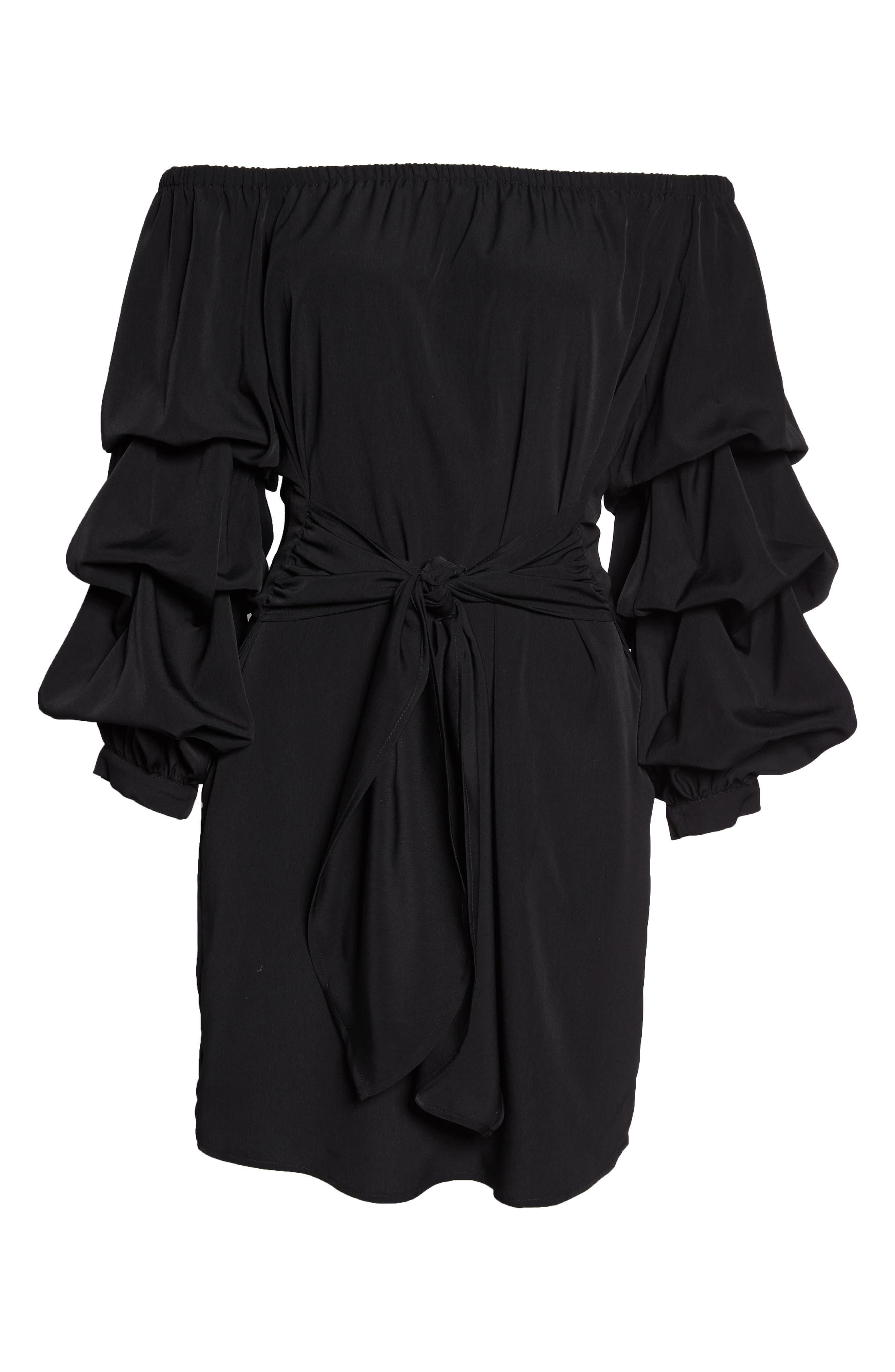 Off the Shoulder Tiered Sleeve Dress,                             Alternate thumbnail 6, color,                             Black