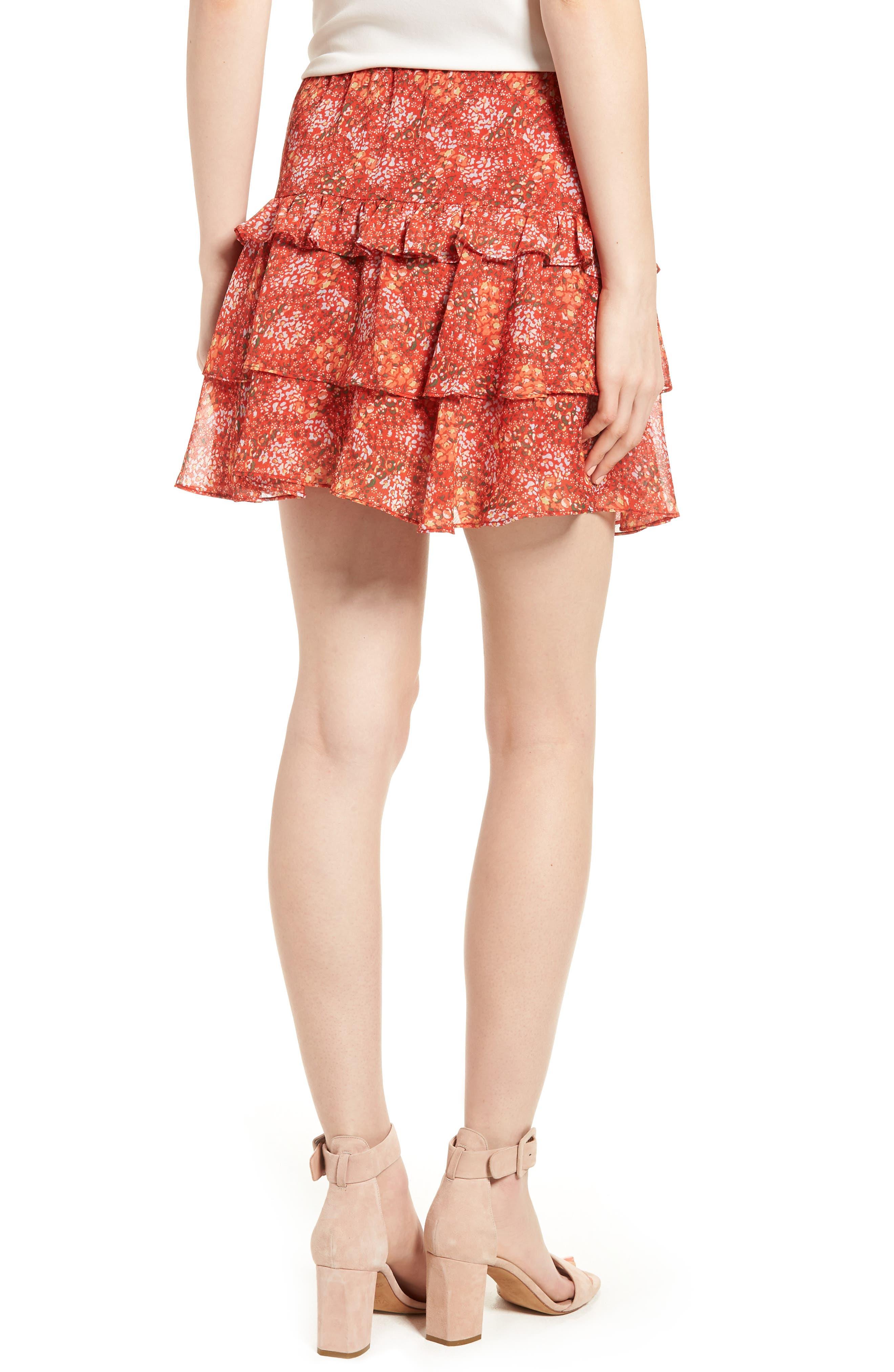 Phoebe Ruffle Tier Skirt,                             Alternate thumbnail 2, color,                             Red Multi