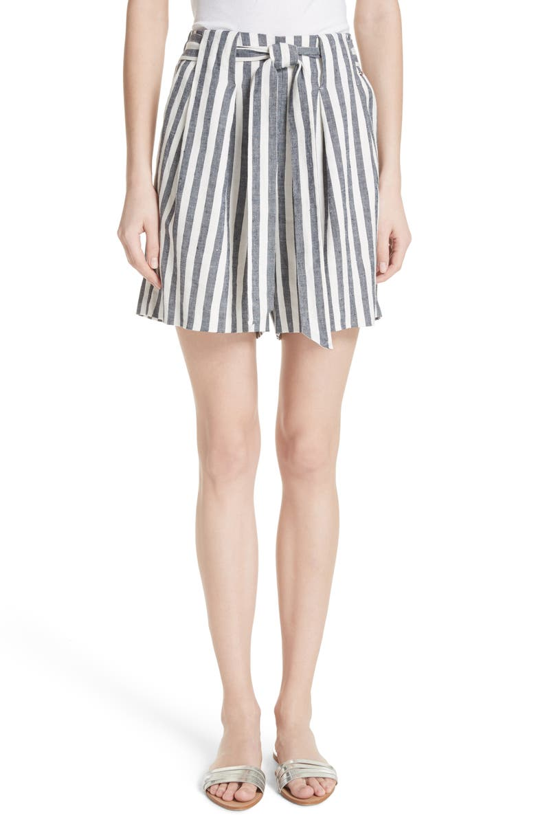 Stripe Twill Linen Blend Shorts