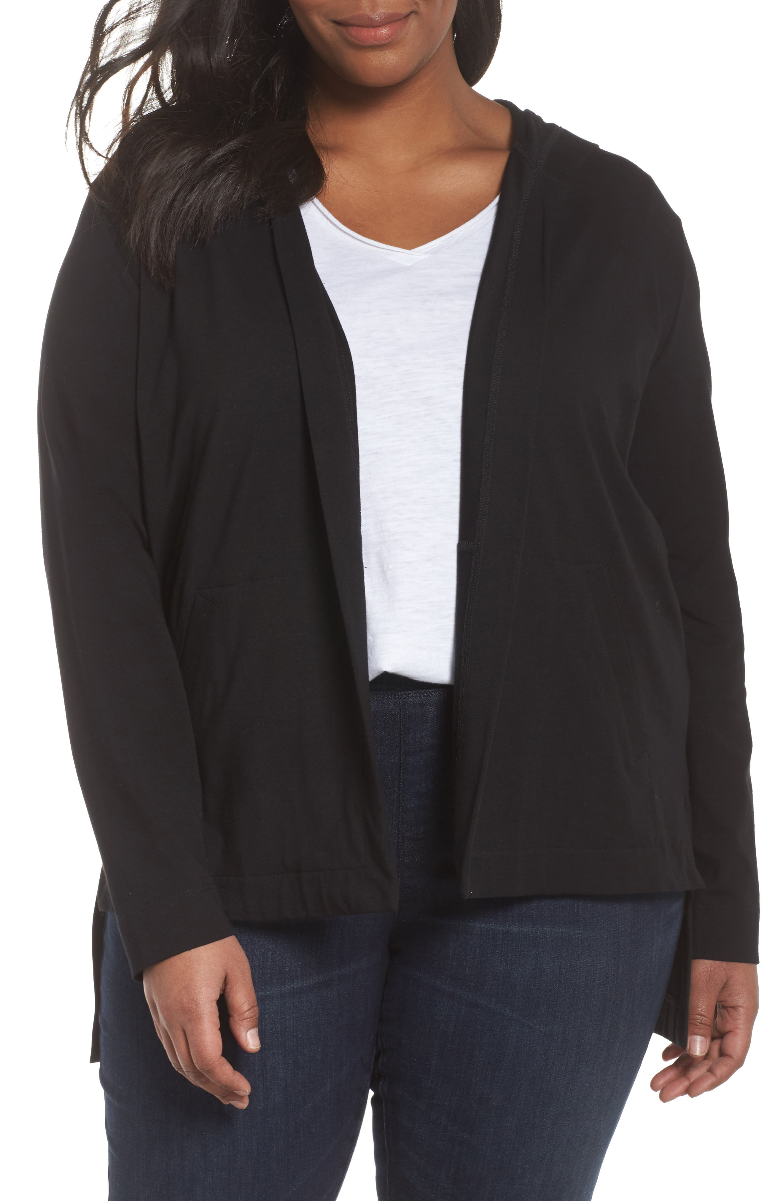 Stretch Organic Cotton Hooded Cardigan,                             Main thumbnail 1, color,                             Black