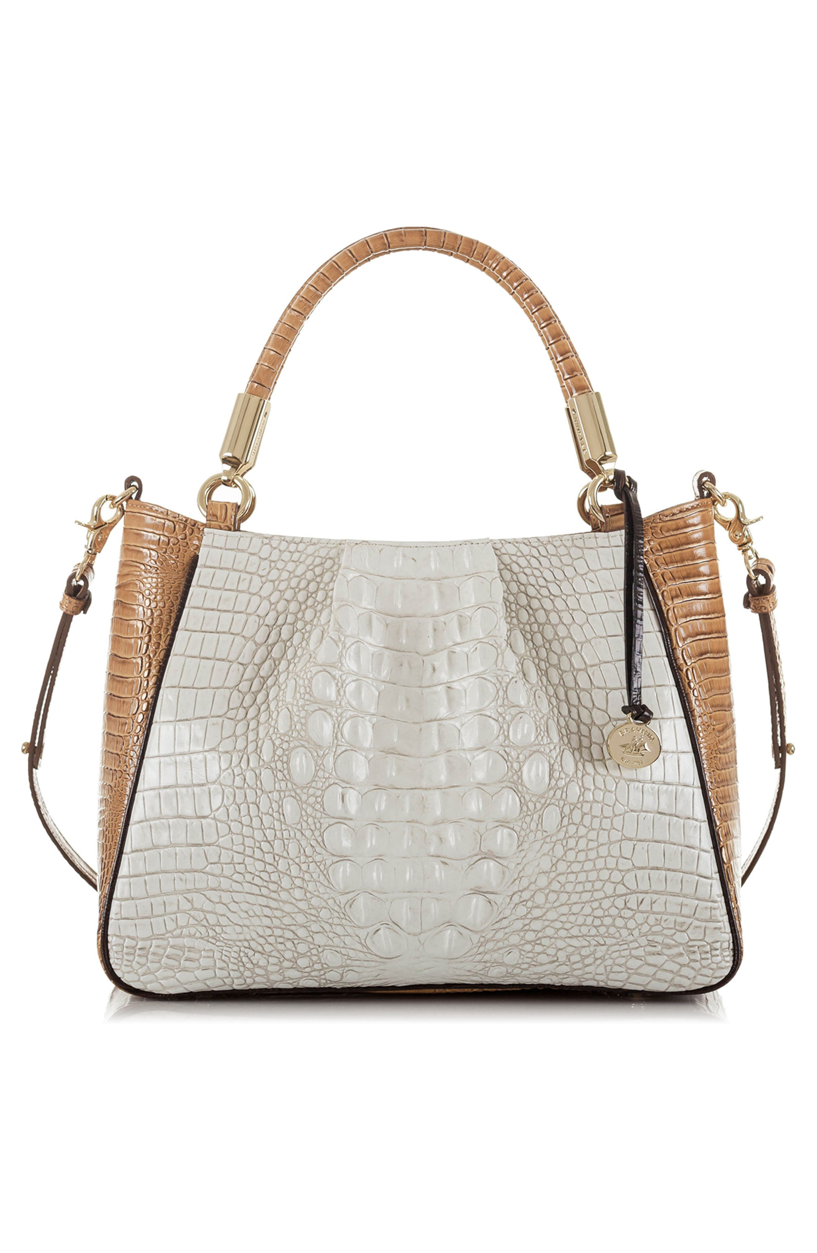 Ruby Croc Embossed Leather Satchel,                             Alternate thumbnail 2, color,                             Coconut Kedima