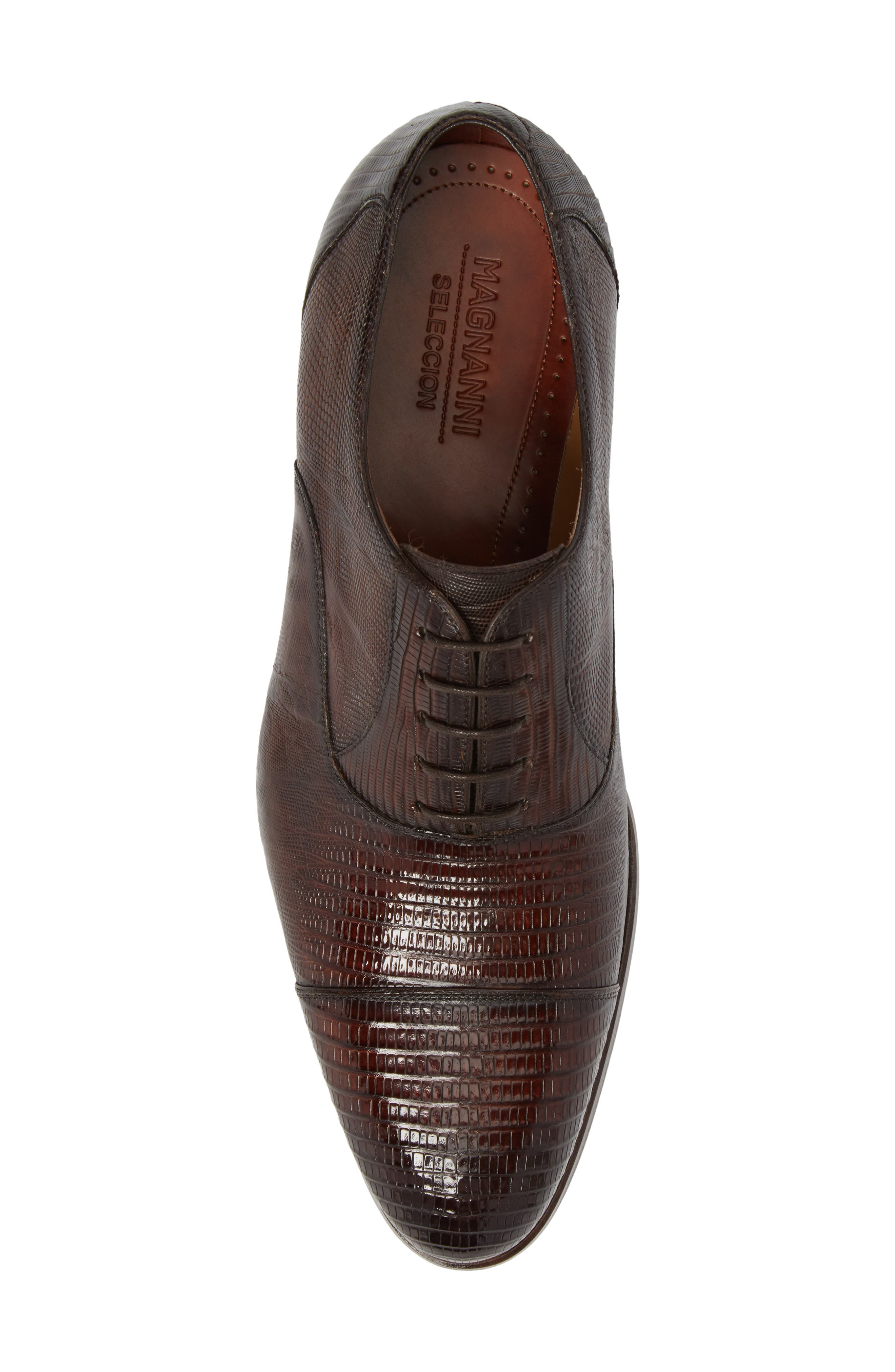 Palmiro Lizard Leather Cap Toe Derby,                             Alternate thumbnail 5, color,                             Mid-Brown Leather
