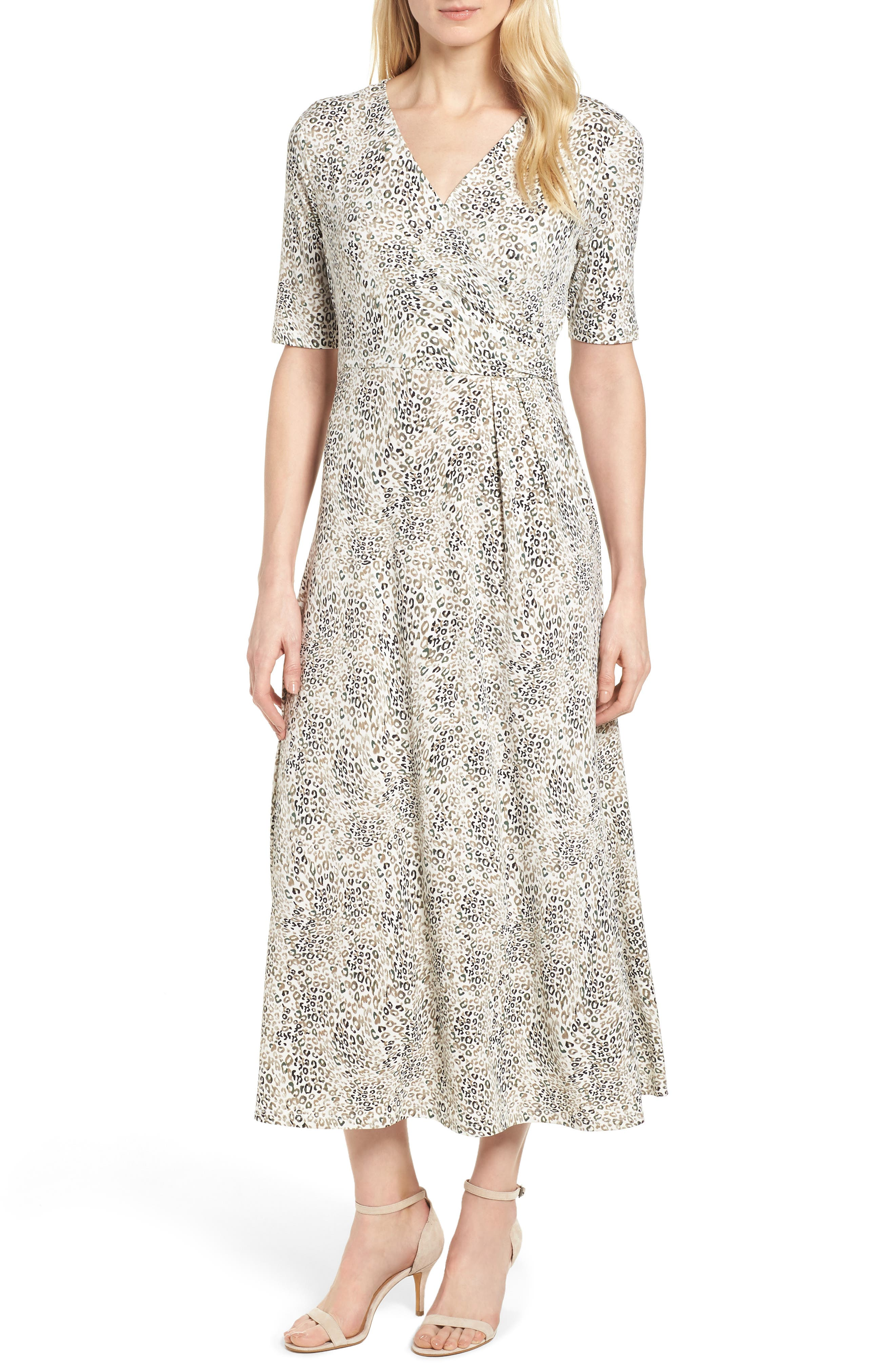 Leopard Print Maxi Dress,                         Main,                         color, 103-New Ivory