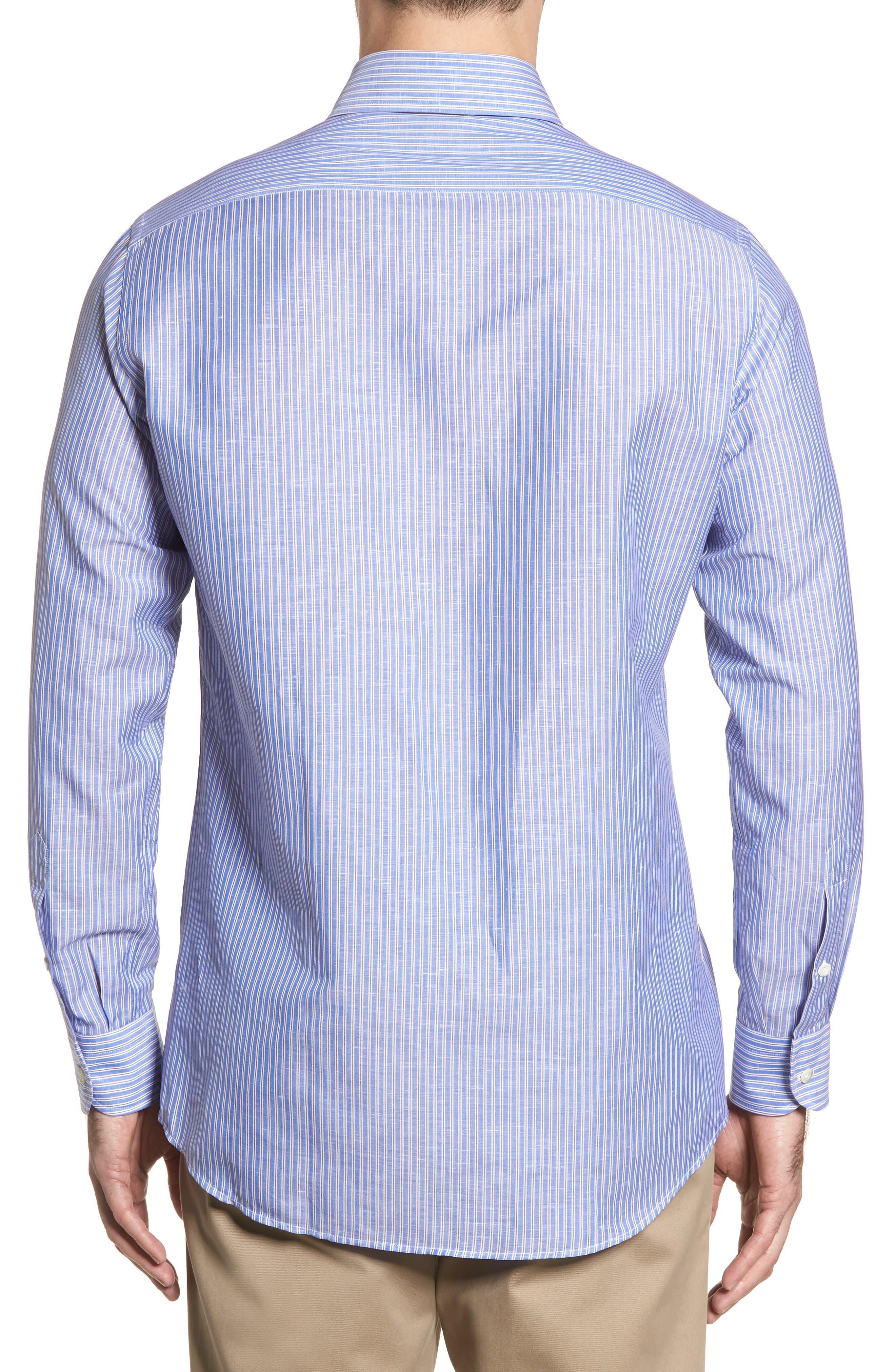 Trim Fit Stripe Sport Shirt,                             Alternate thumbnail 2, color,                             Navy