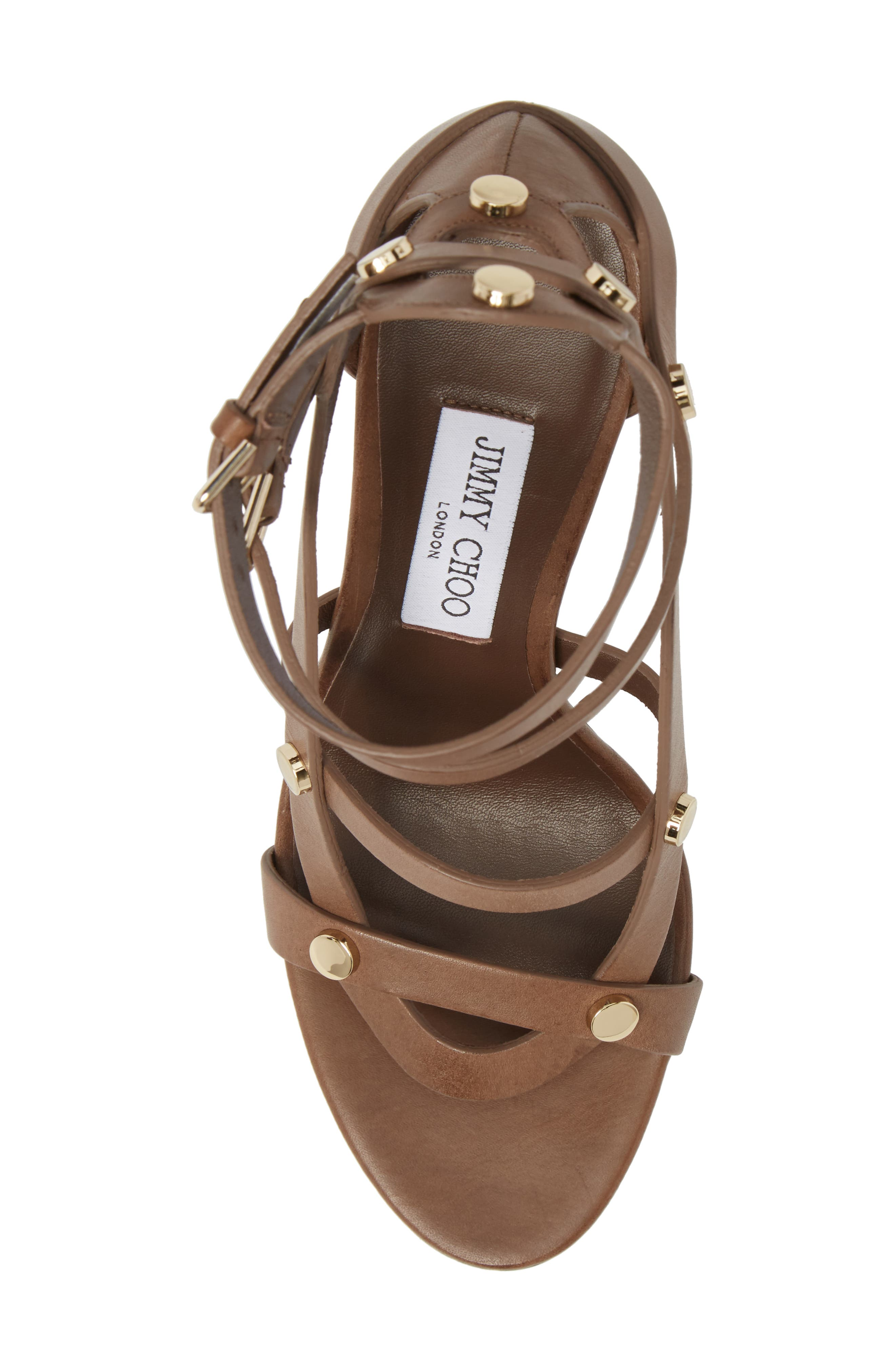 Motoko Studded Cage Sandal,                             Alternate thumbnail 5, color,                             Cacao Brown