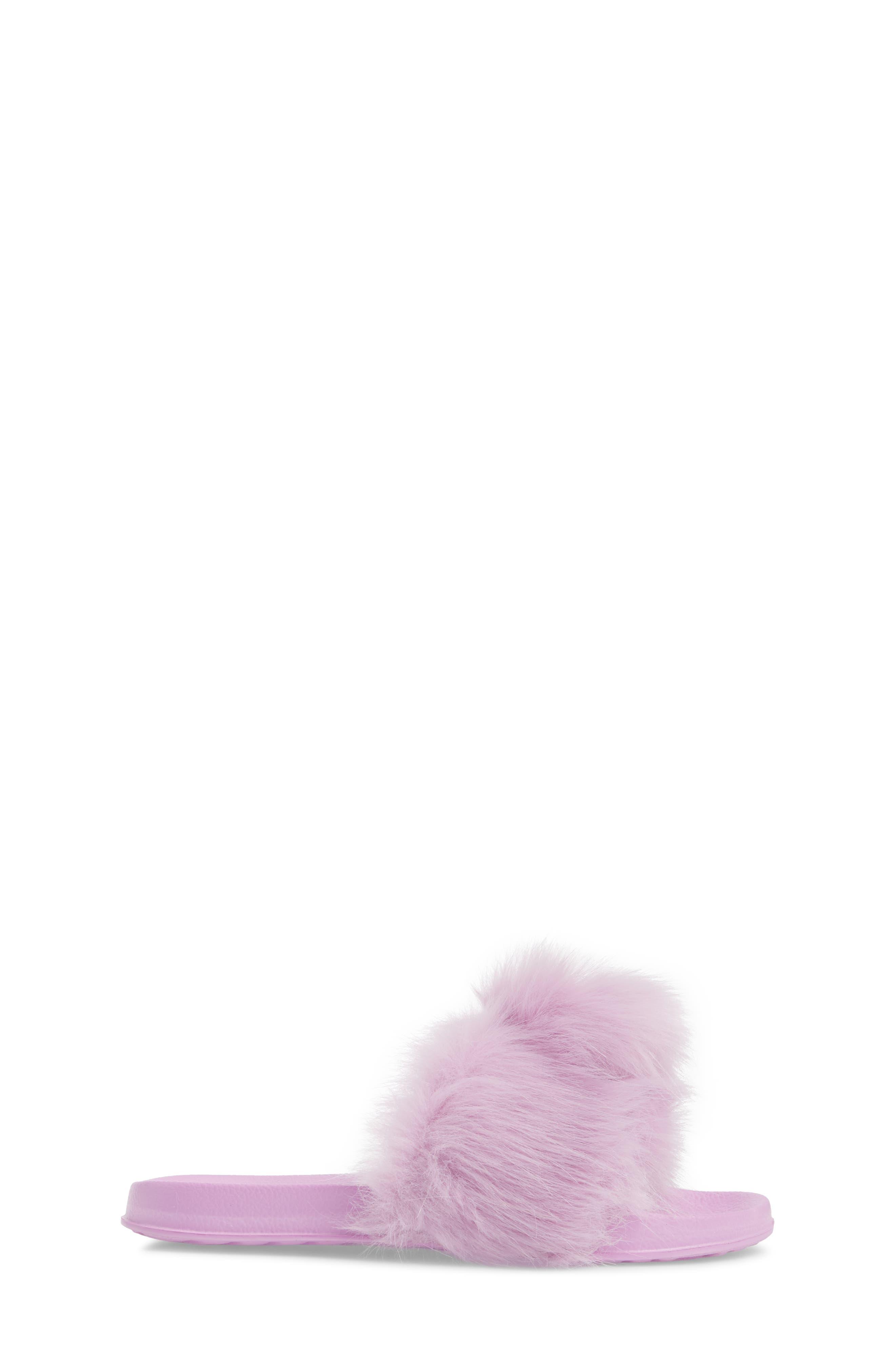 Mackie Aster Faux Fur Slide Sandal,                             Alternate thumbnail 3, color,                             Lavender Faux Fur