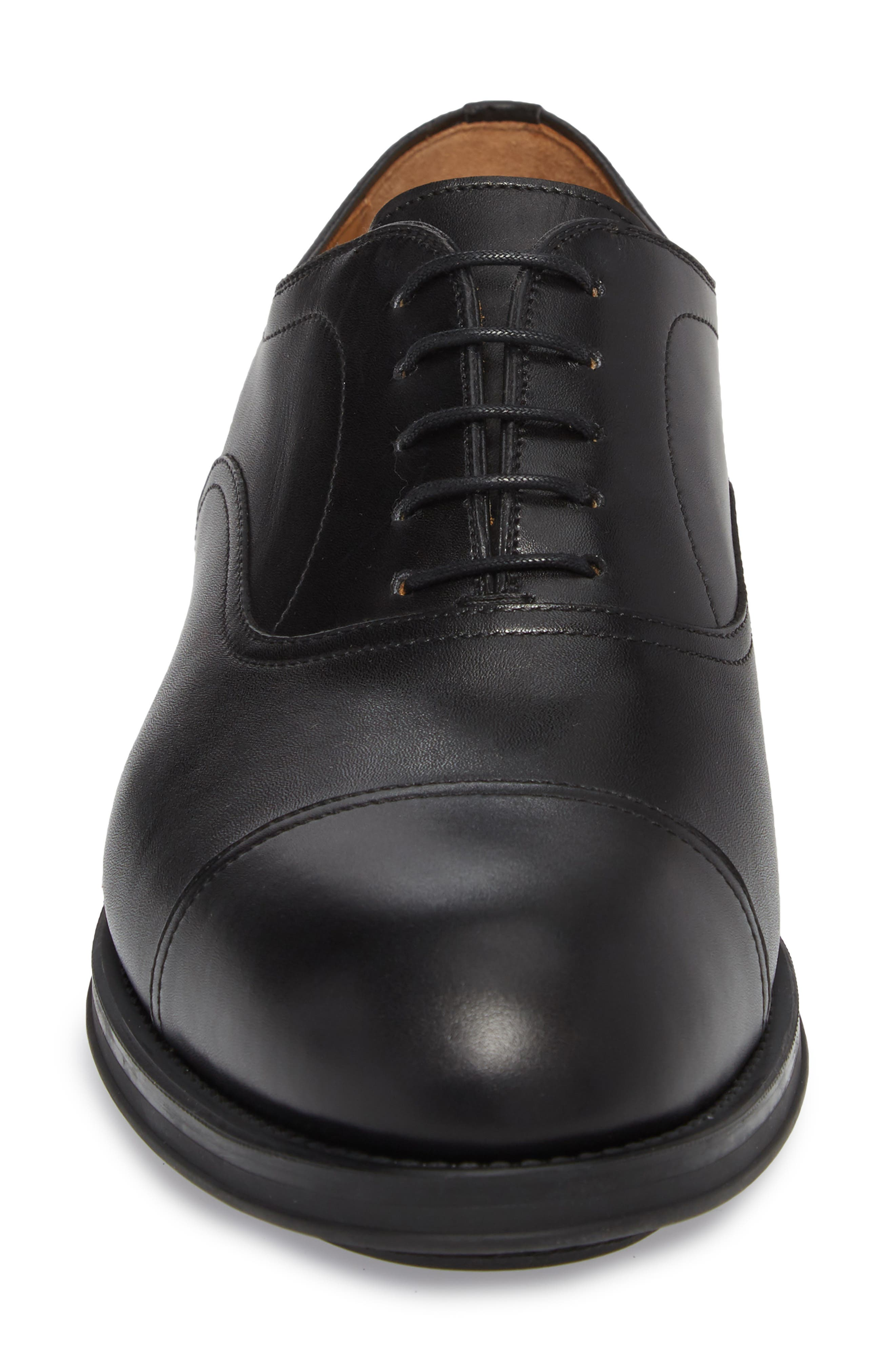 Tadeo Cap Toe Oxford,                             Alternate thumbnail 4, color,                             Black Leather