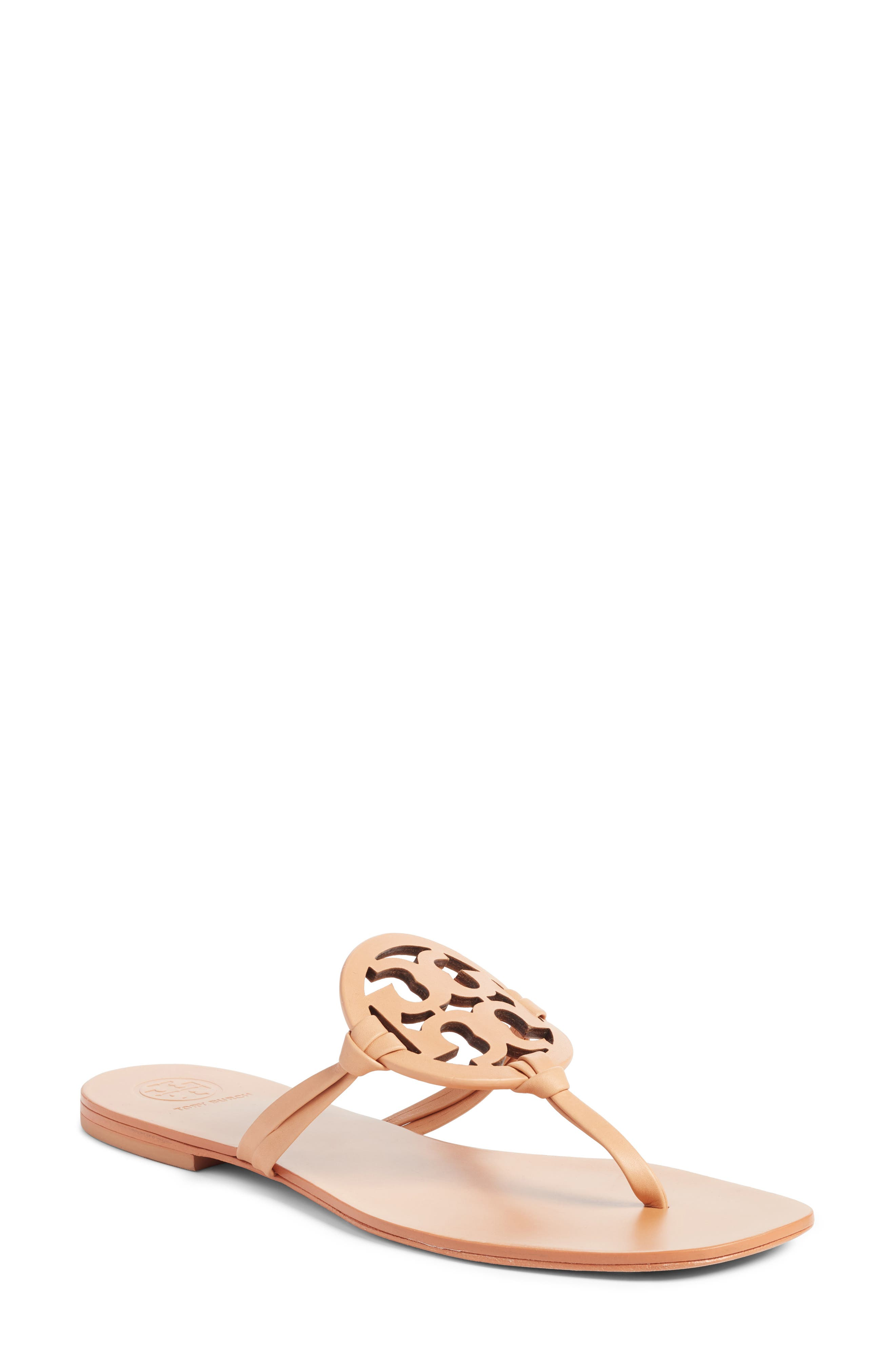 Tory Burch Miller Logo Thong Sandal (Women). NATURAL VACHETTEA; PERFECT  BLACK