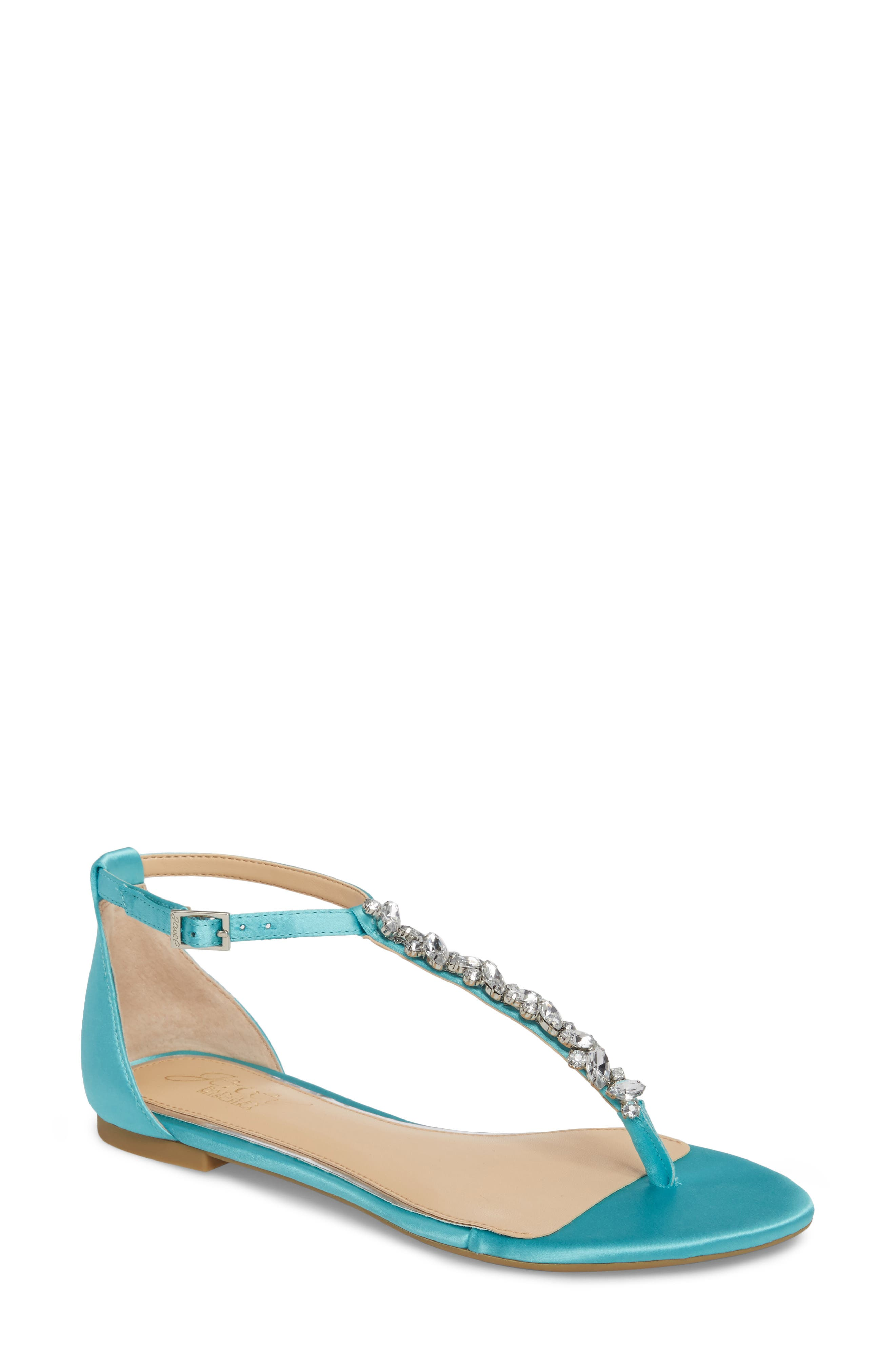 Carrol Embellished T-Strap Sandal,                             Main thumbnail 1, color,                             Turquoise Satin