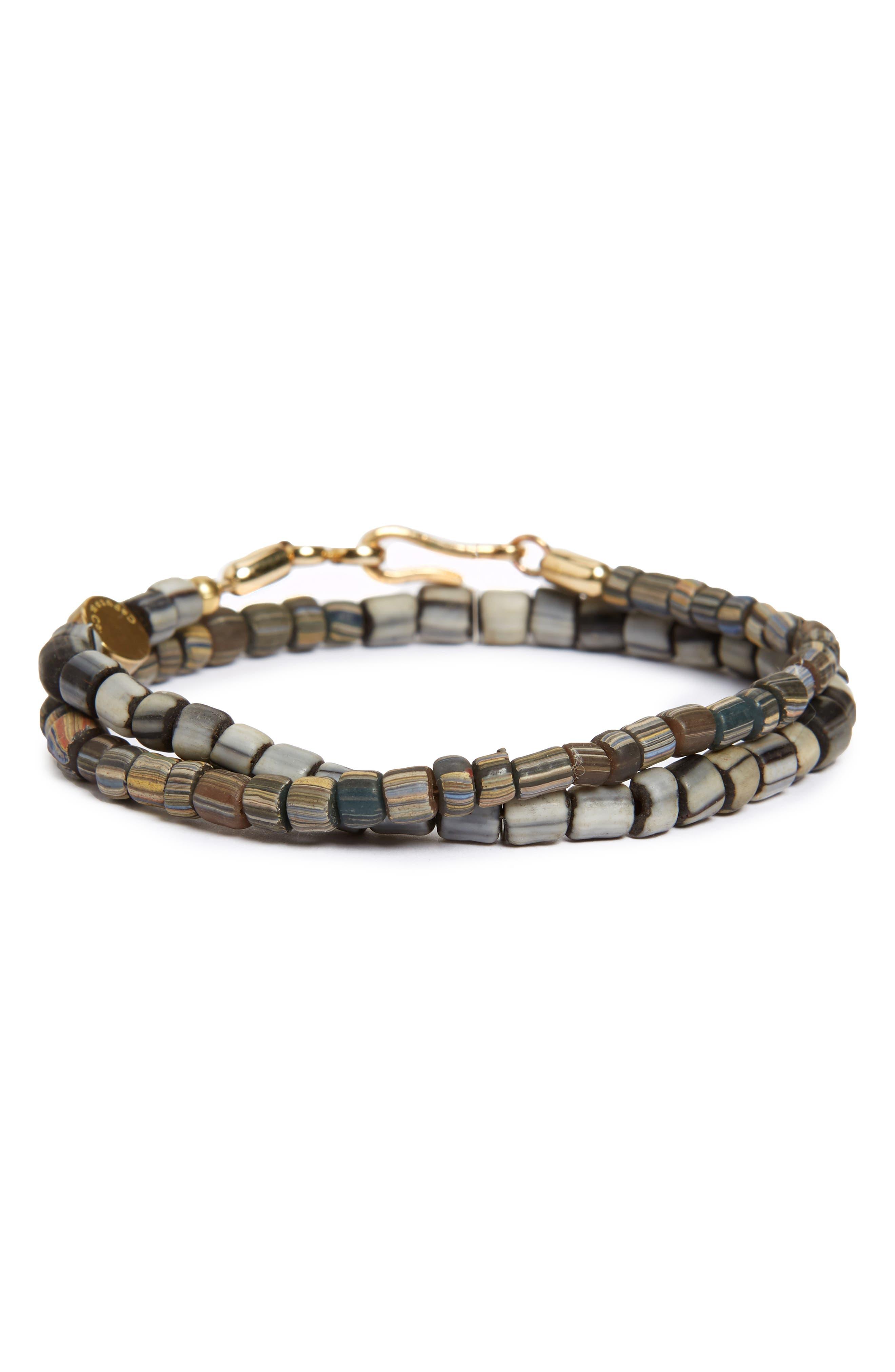 Glass Bead Wrap Bracelet,                         Main,                         color, Grey/ Brown Combo