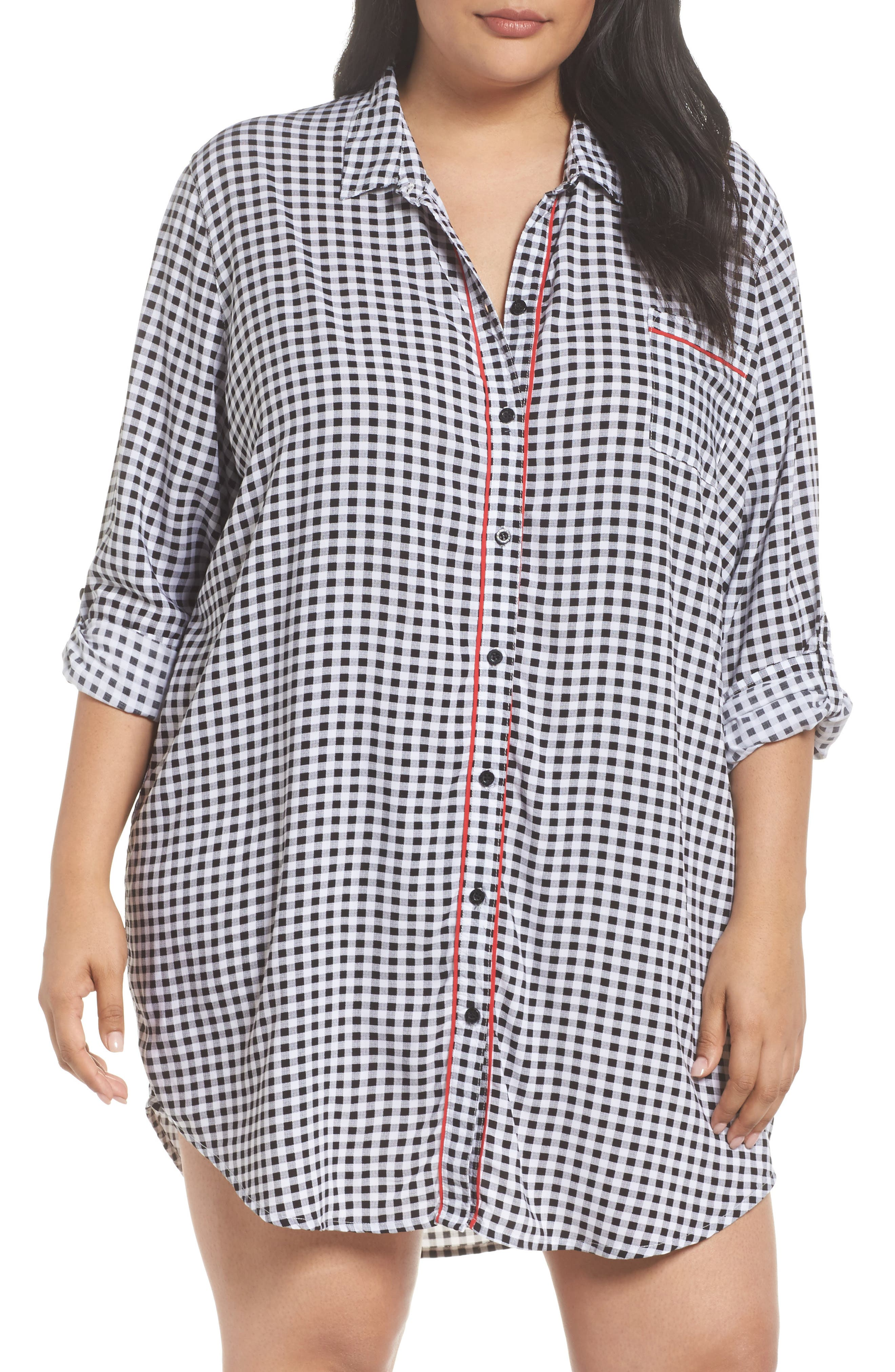 Gingham Sleep Shirt,                         Main,                         color, Black