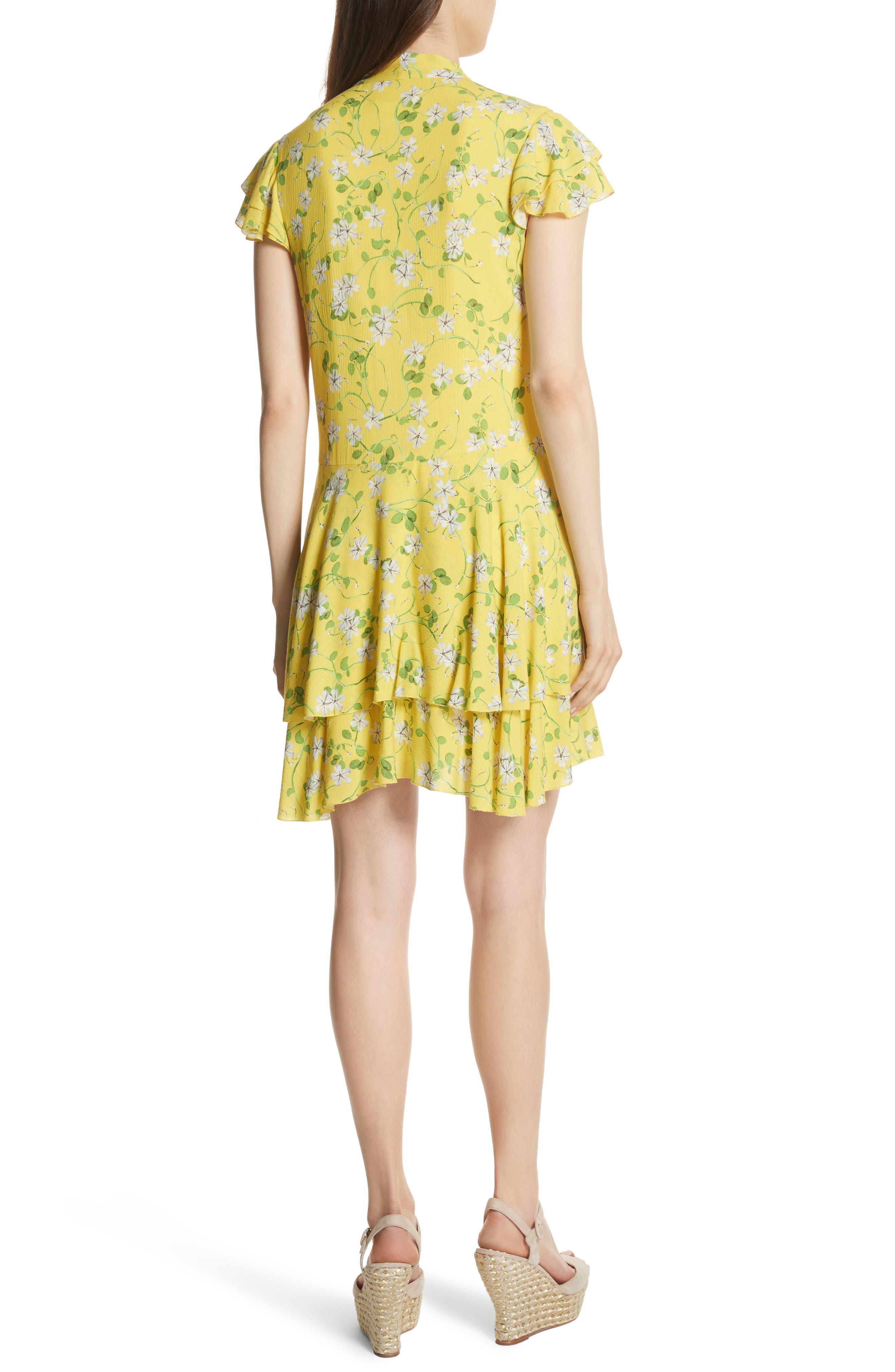 Moore Flutter Sleeve Layered Tunic Dress,                             Alternate thumbnail 2, color,                             Spring Primrose-Lemon