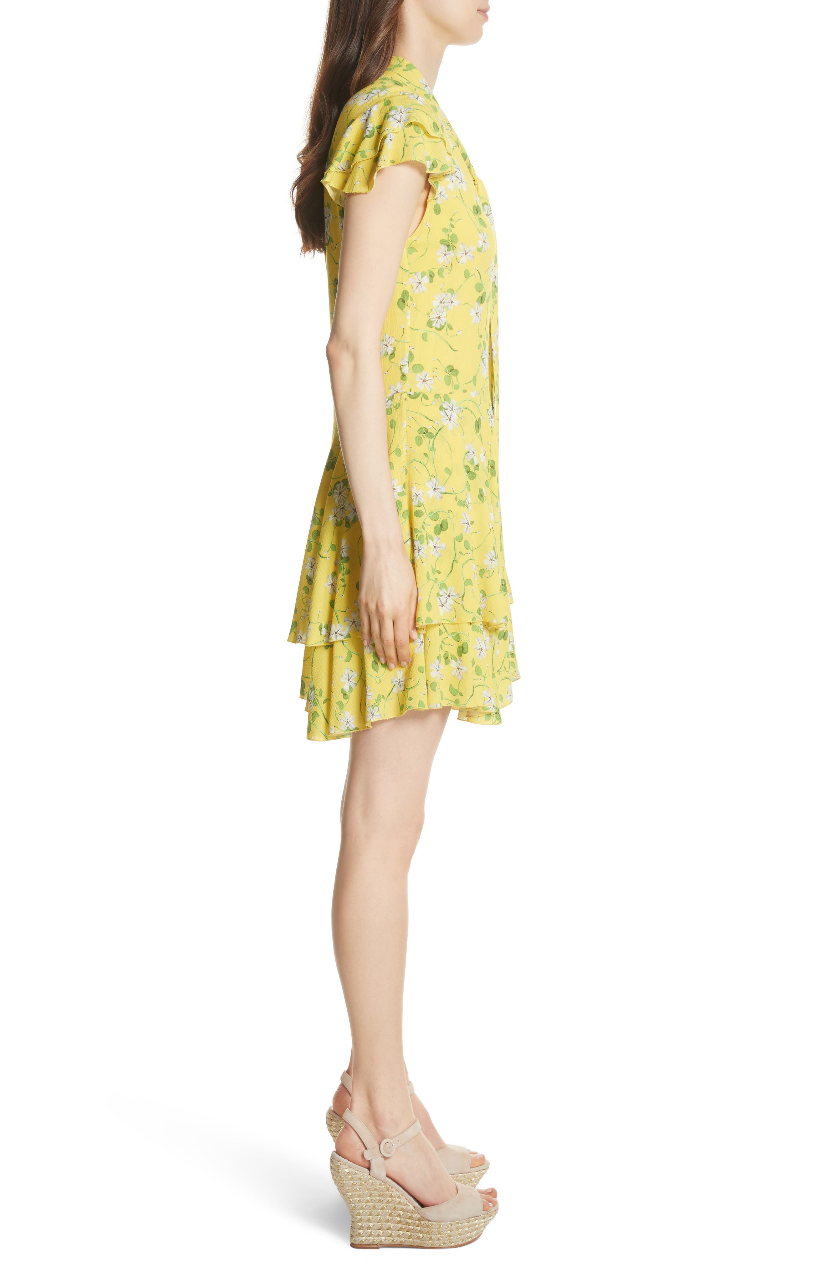 Moore Flutter Sleeve Layered Tunic Dress,                             Alternate thumbnail 3, color,                             Spring Primrose-Lemon