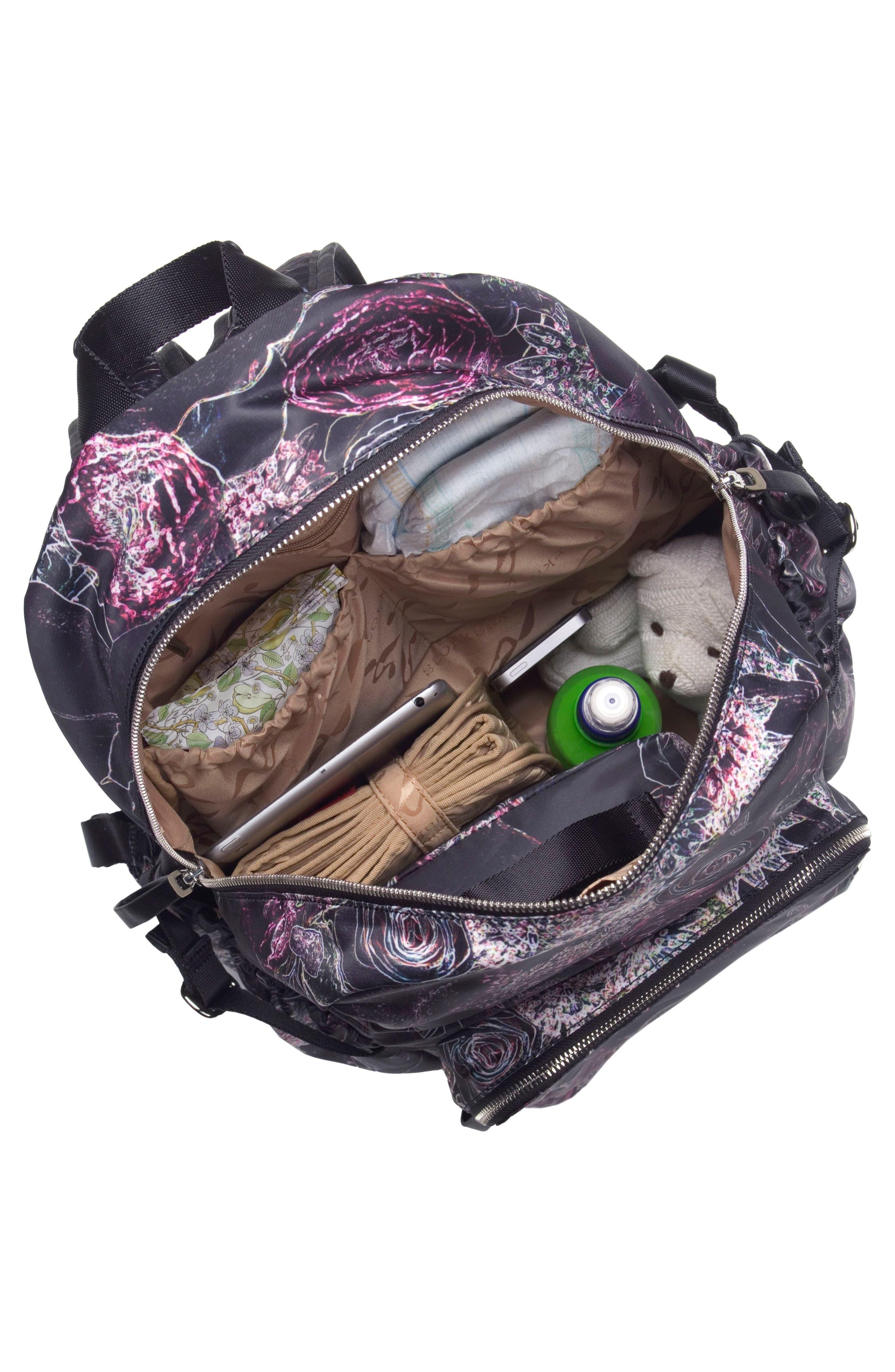 Hero Water Resistant Nylon Backpack Diaper Bag,                             Alternate thumbnail 2, color,                             Neon Floral