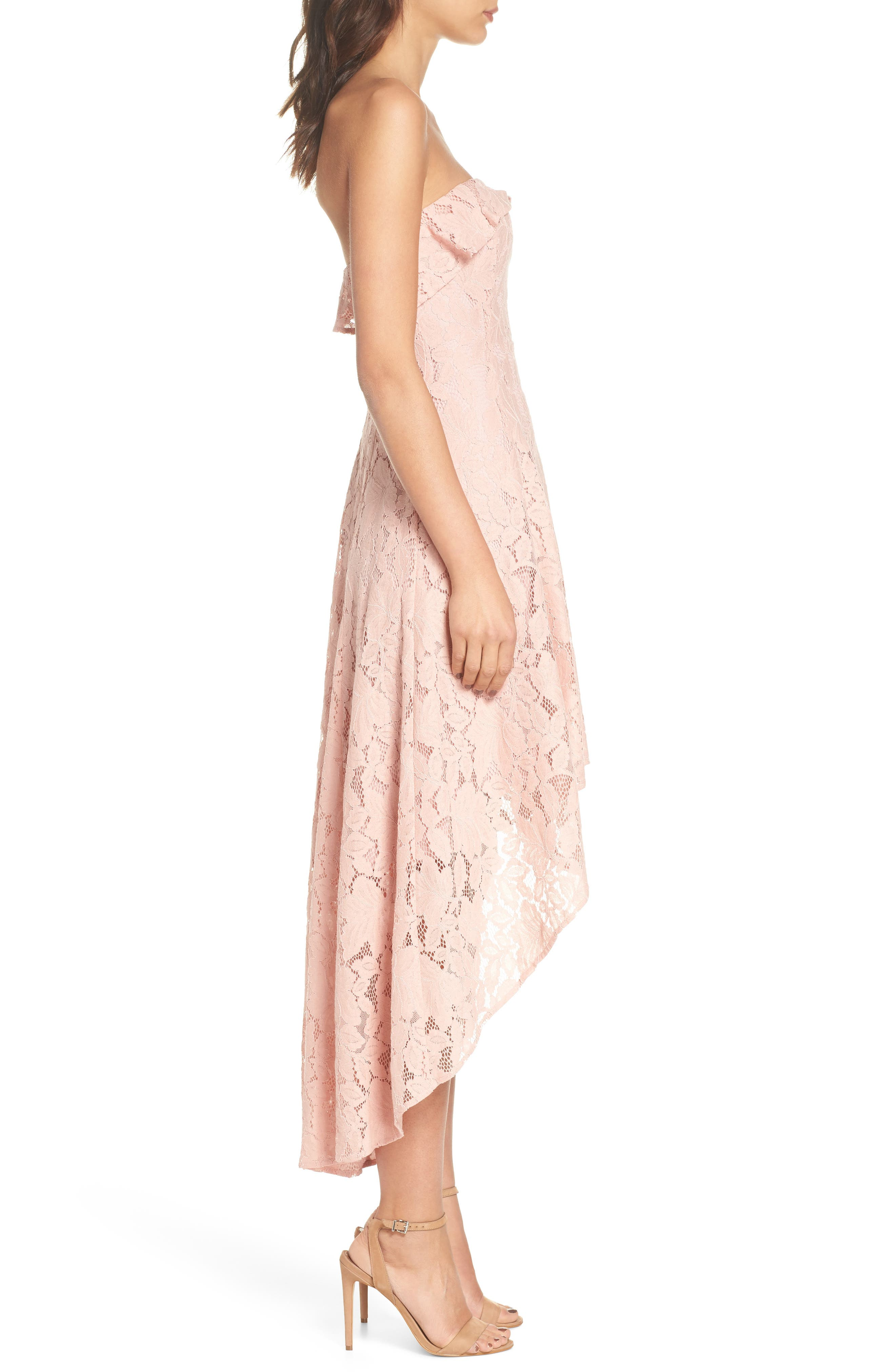 Strapless Lace High/Low Dress,                             Alternate thumbnail 3, color,                             Peach