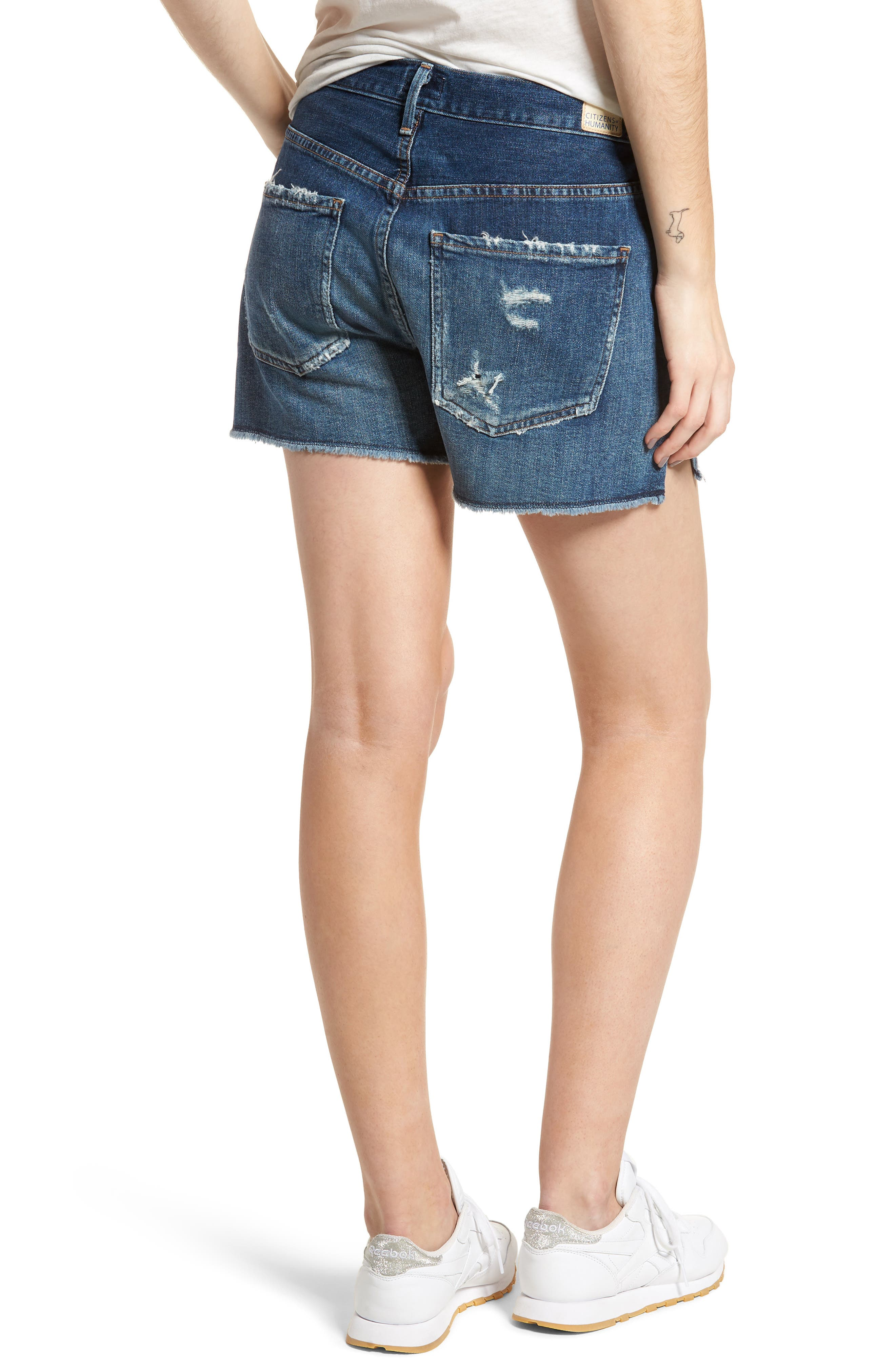 Corey Distressed Slouchy Denim Shorts,                             Alternate thumbnail 2, color,                             Ombre