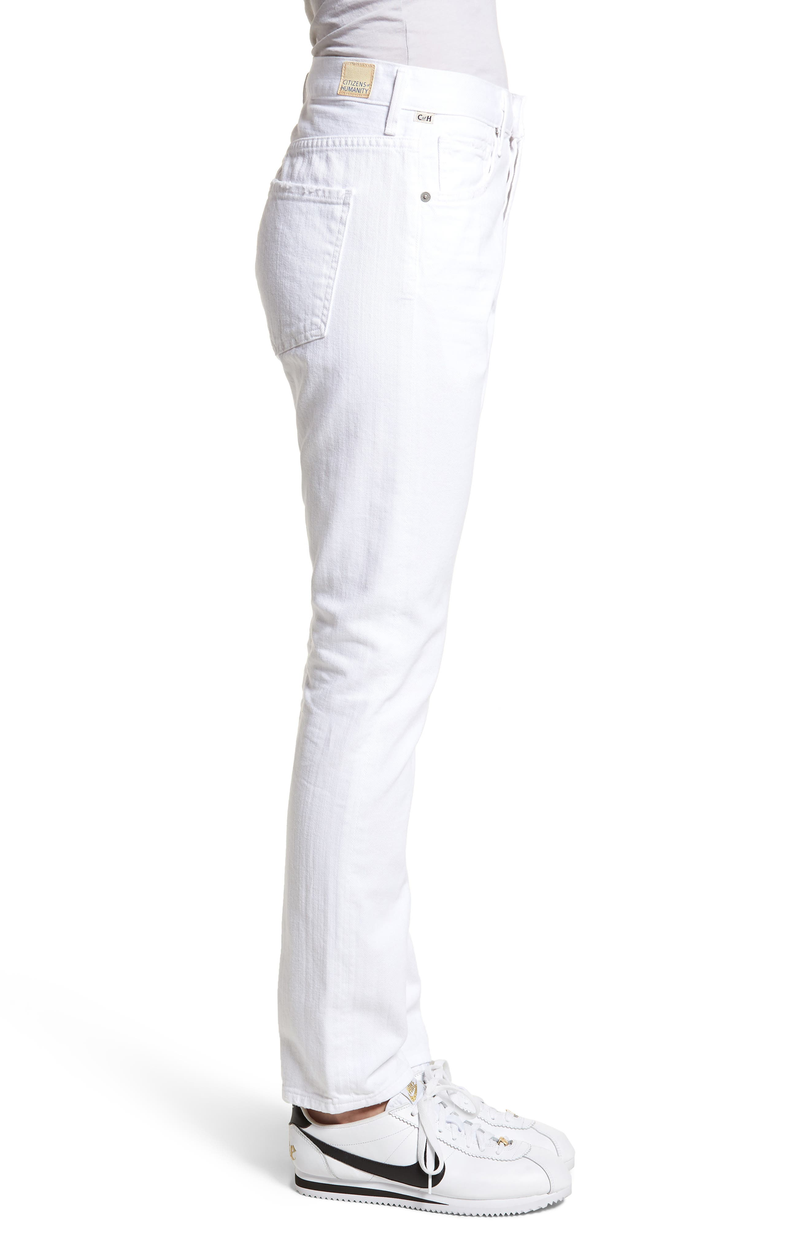 Corey Slouchy Slim Jeans,                             Alternate thumbnail 3, color,                             Distressed White
