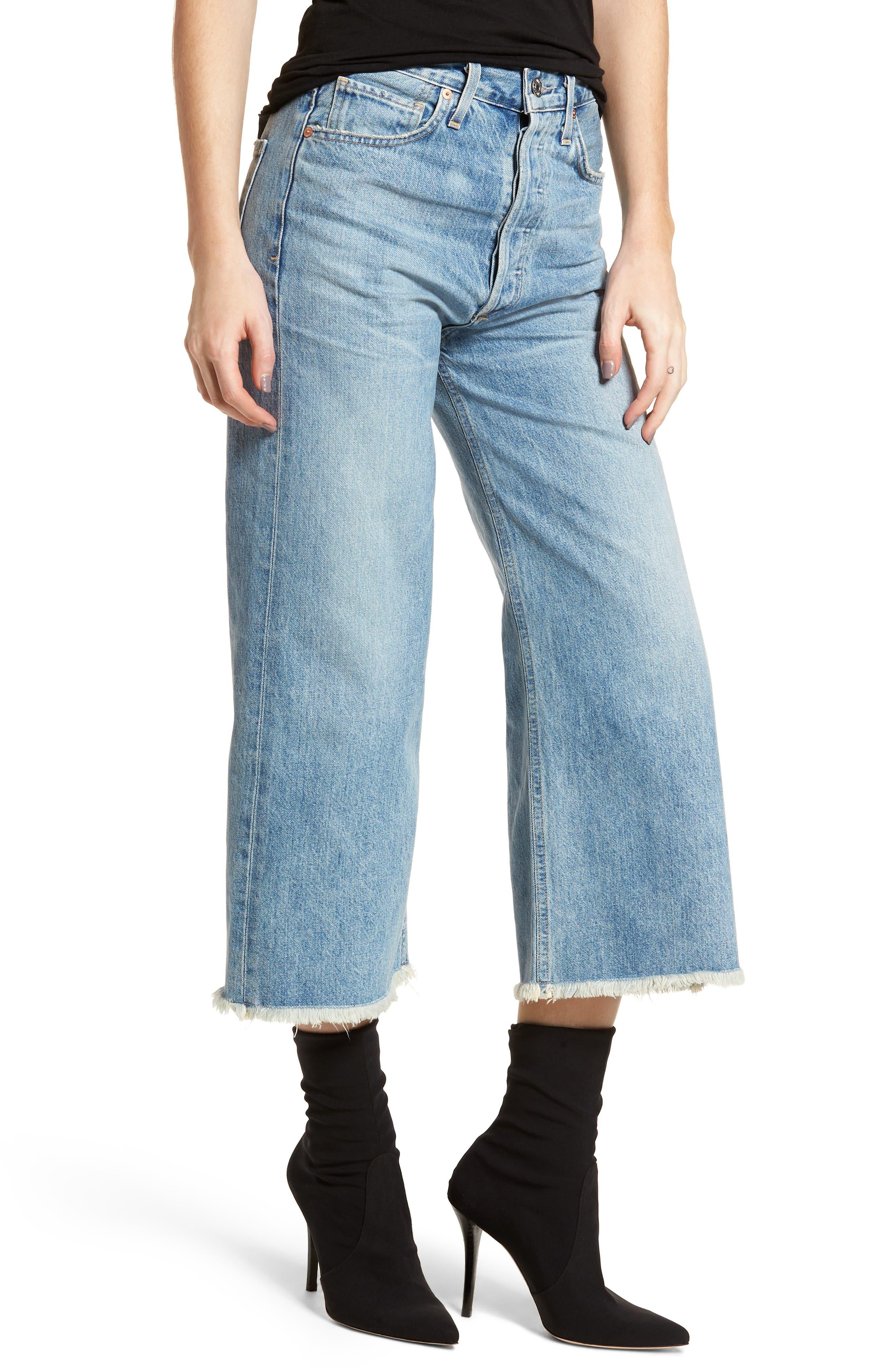 Emma High Waist Crop Wide Leg Jeans,                         Main,                         color, Stax
