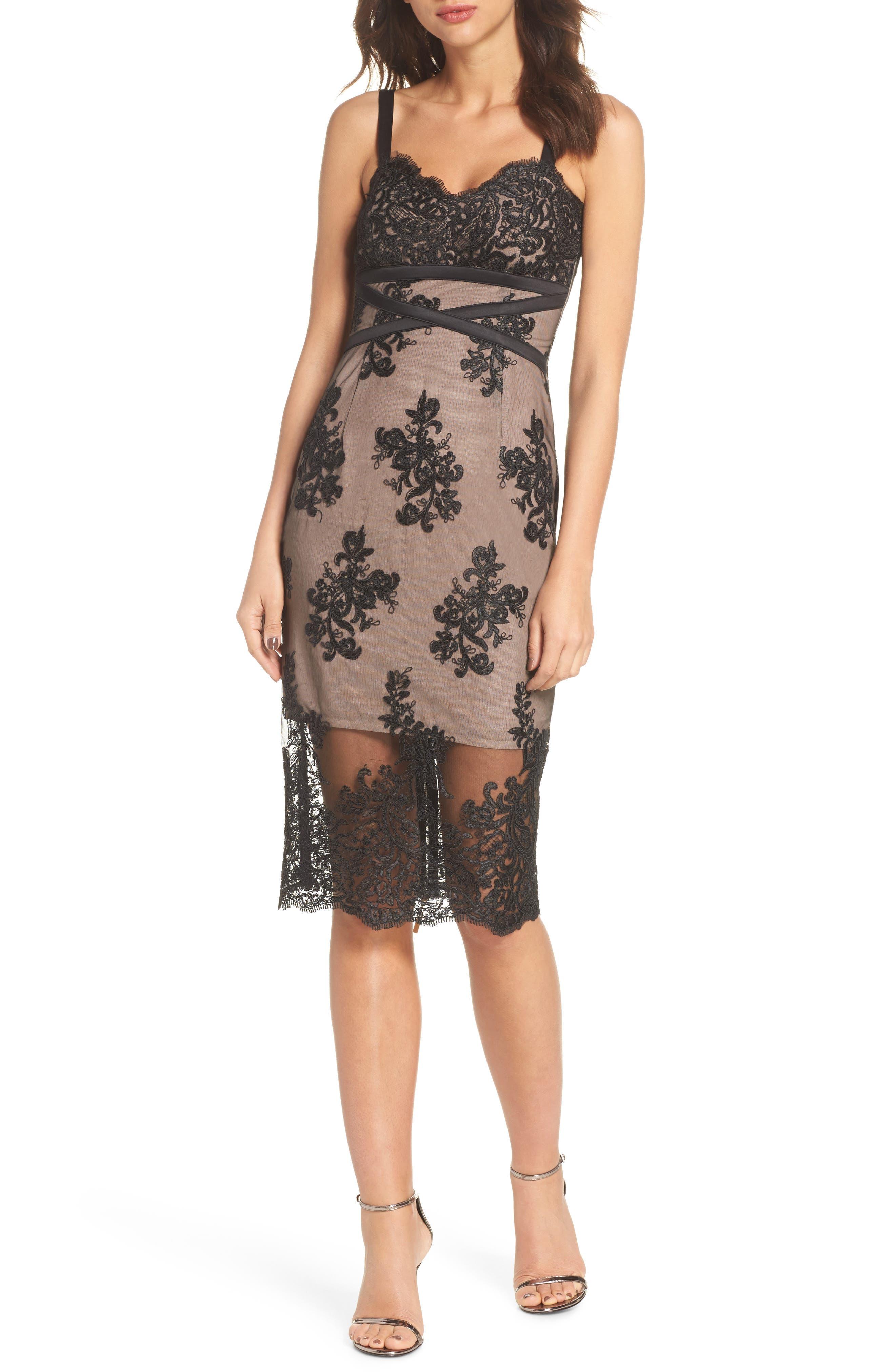 Camilla Lace Sheath Dress,                             Main thumbnail 1, color,                             Black