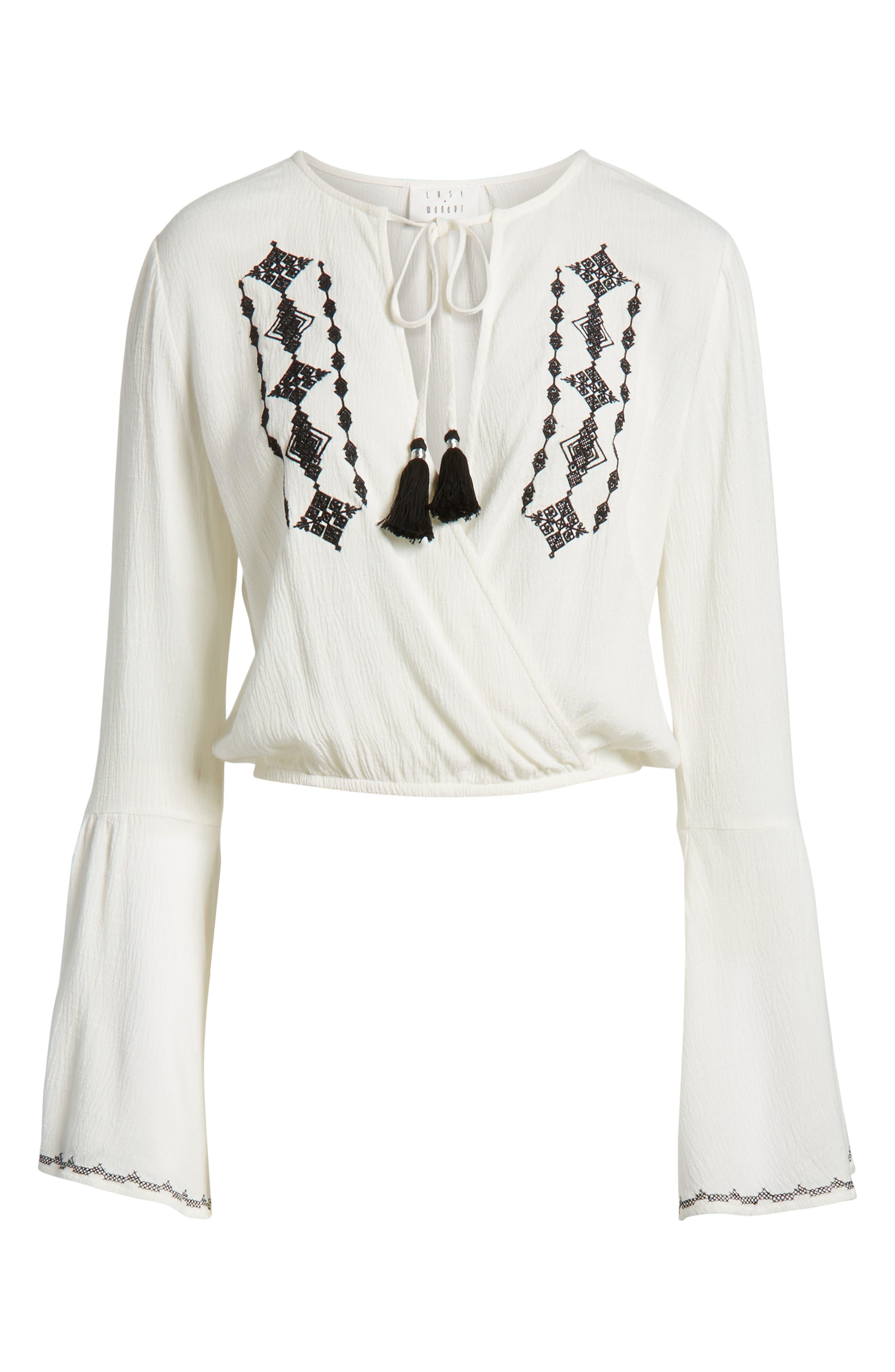 Festival Embroidered Surplice Top,                             Alternate thumbnail 8, color,                             White
