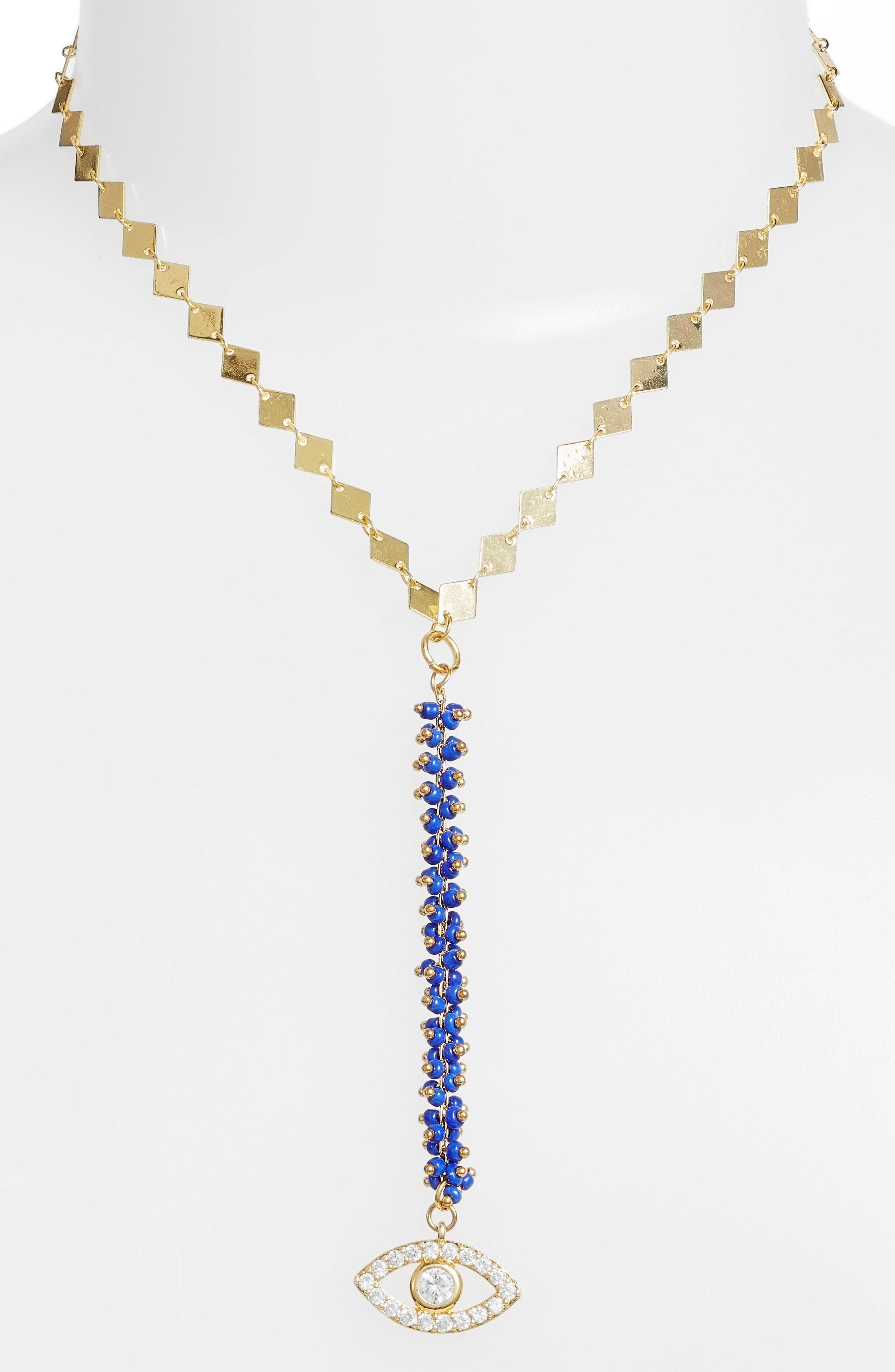 Mykonos Y-Necklace,                             Main thumbnail 1, color,                             Gold/ Blue