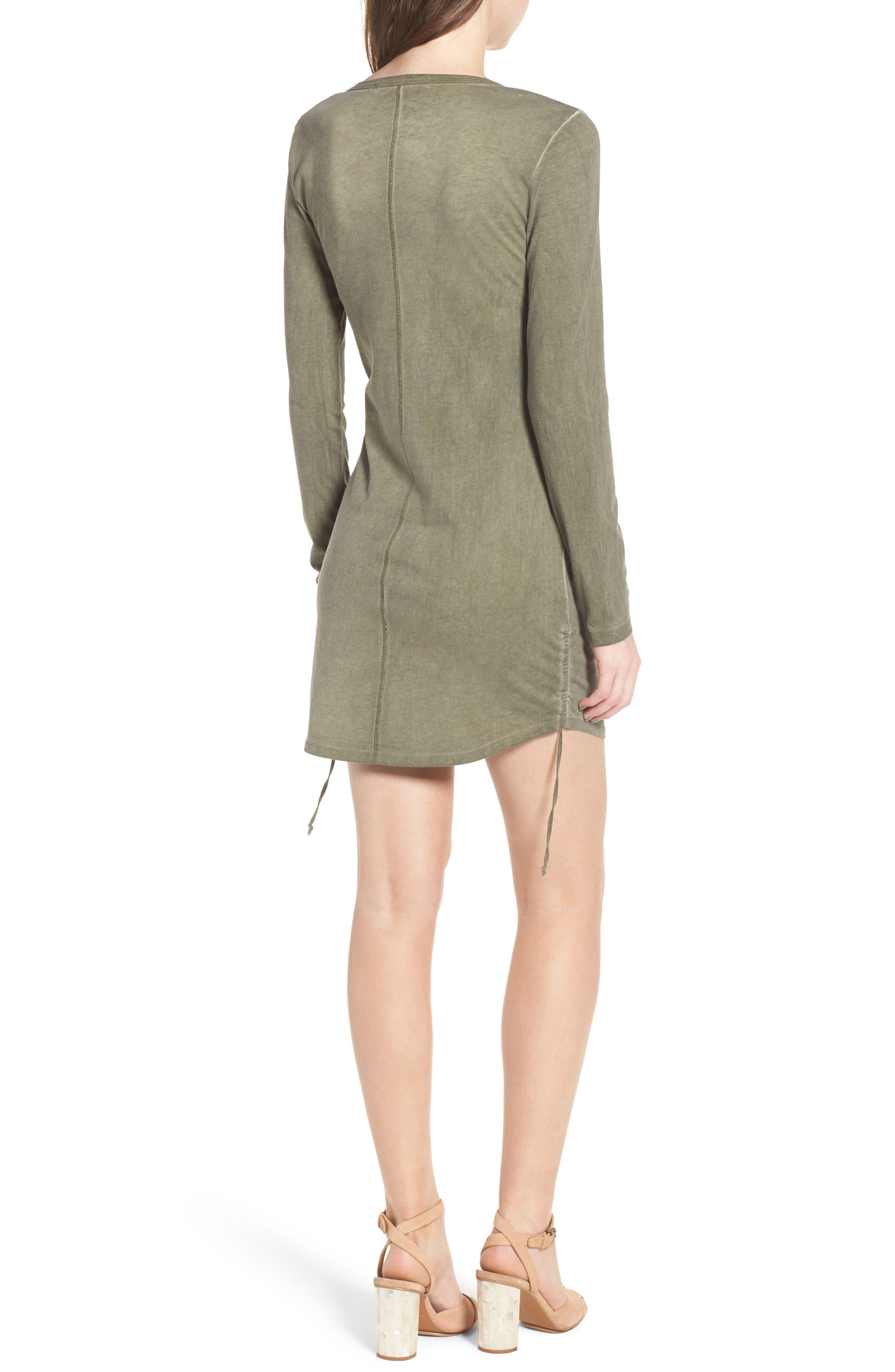 Scoop Neck Body-Con Dress,                             Alternate thumbnail 2, color,                             Olive Smoke