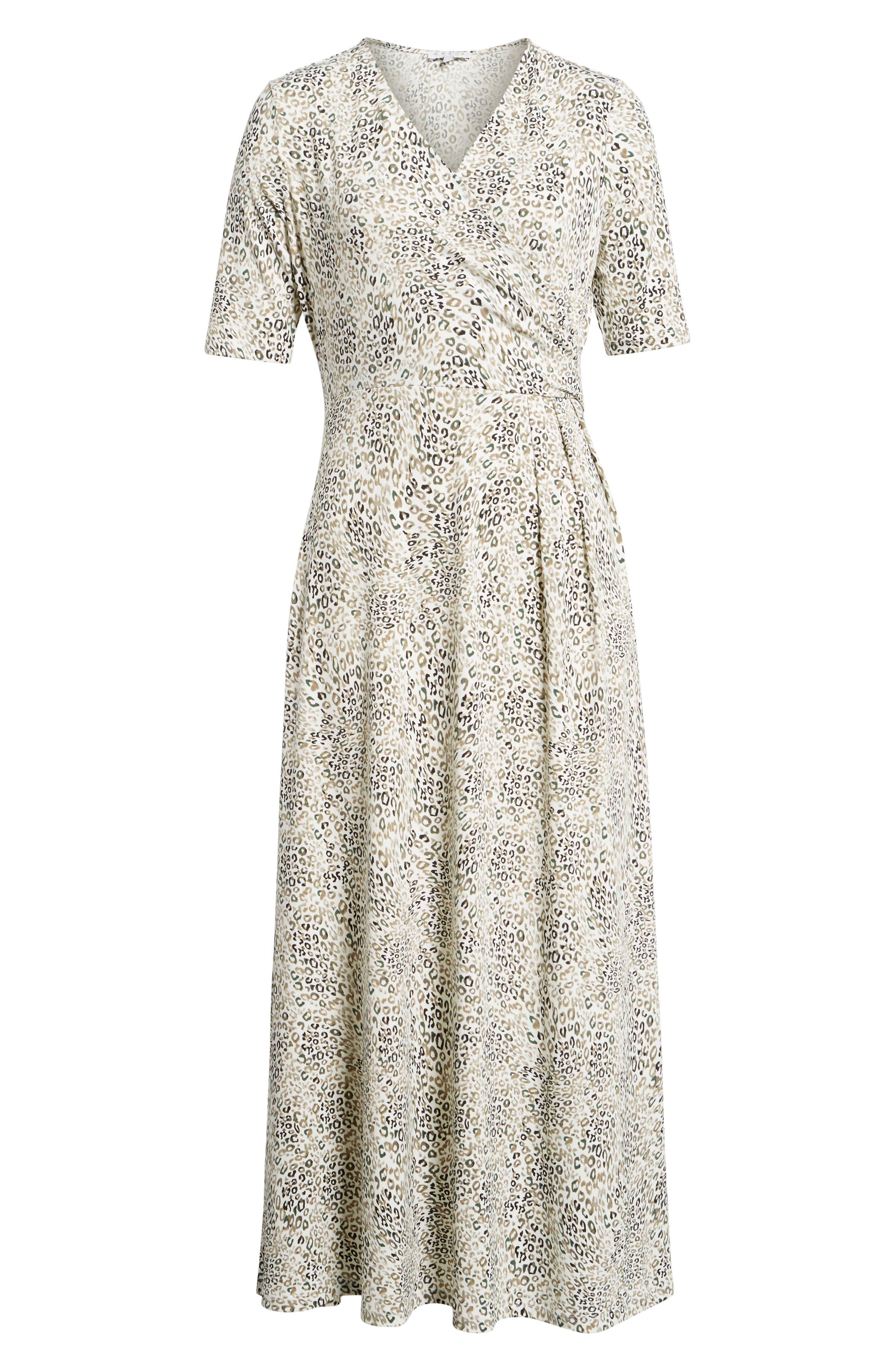 Leopard Print Maxi Dress,                             Alternate thumbnail 6, color,                             103-New Ivory