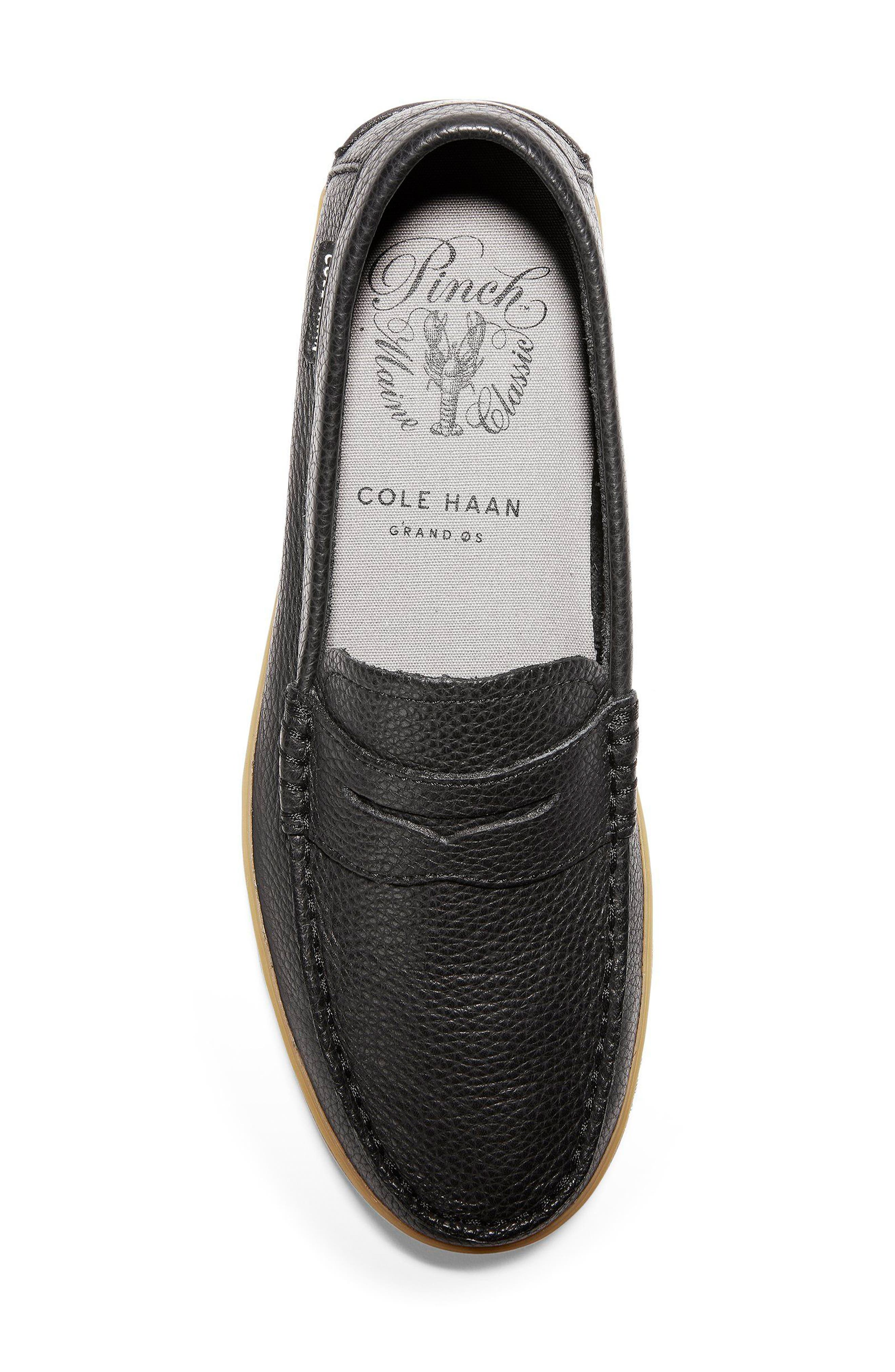 'Pinch Weekend' Penny Loafer,                             Alternate thumbnail 6, color,                             Black Tumble Leather
