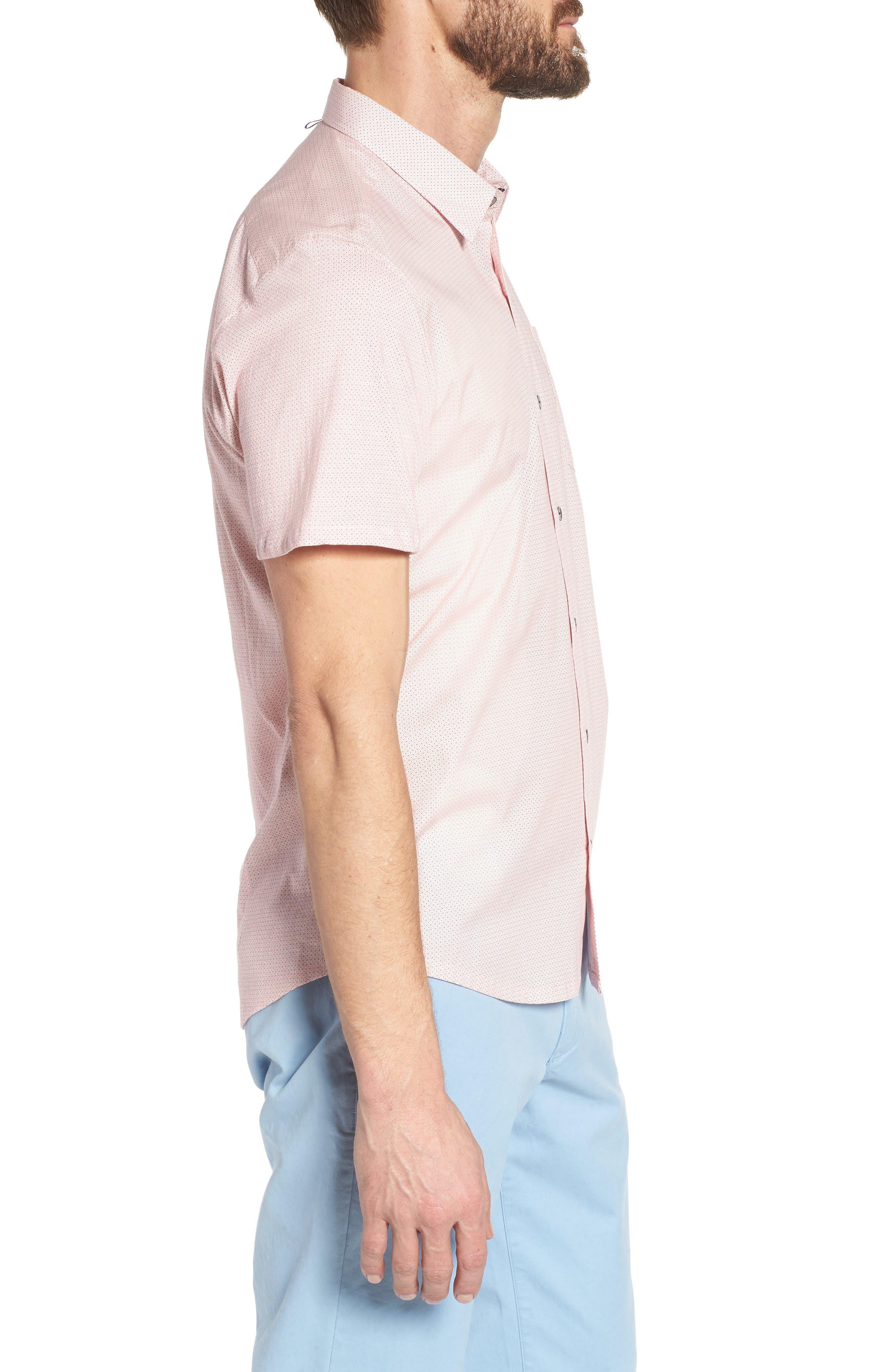 Square Slim Fit Dot Sport Shirt,                             Alternate thumbnail 3, color,                             Pink
