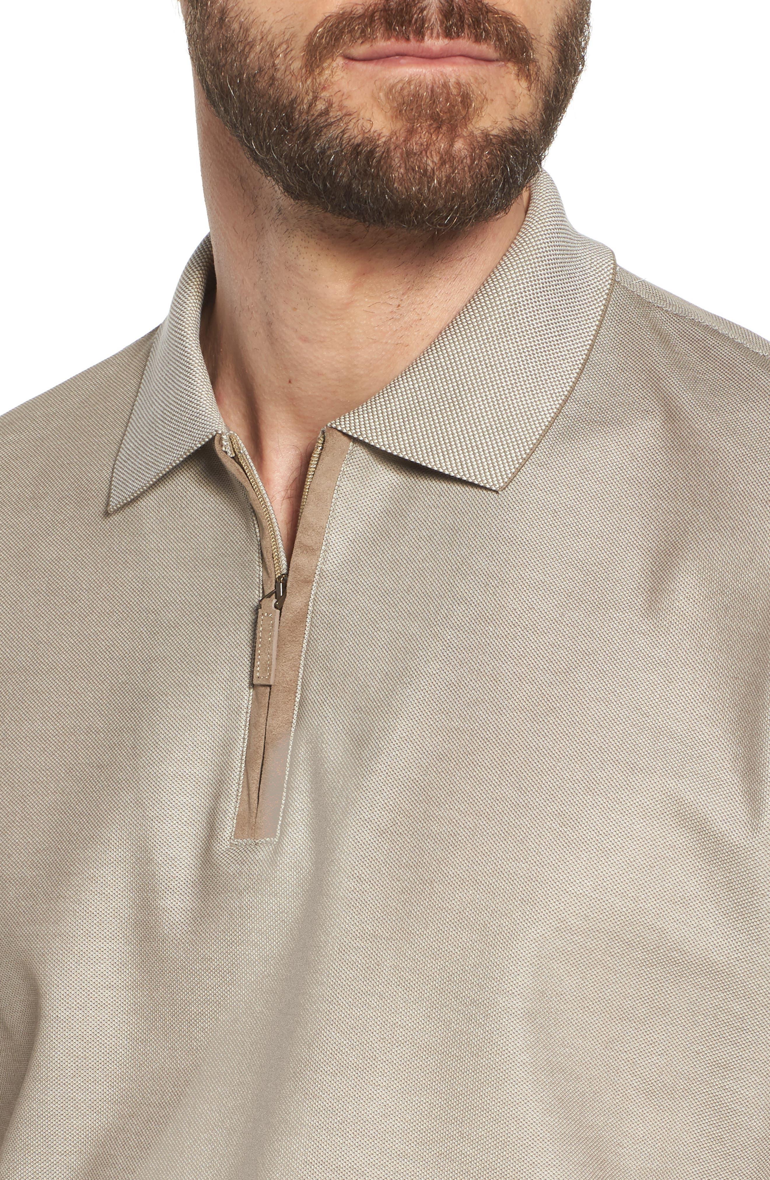 Cotton Polo Shirt,                             Alternate thumbnail 4, color,                             Tan