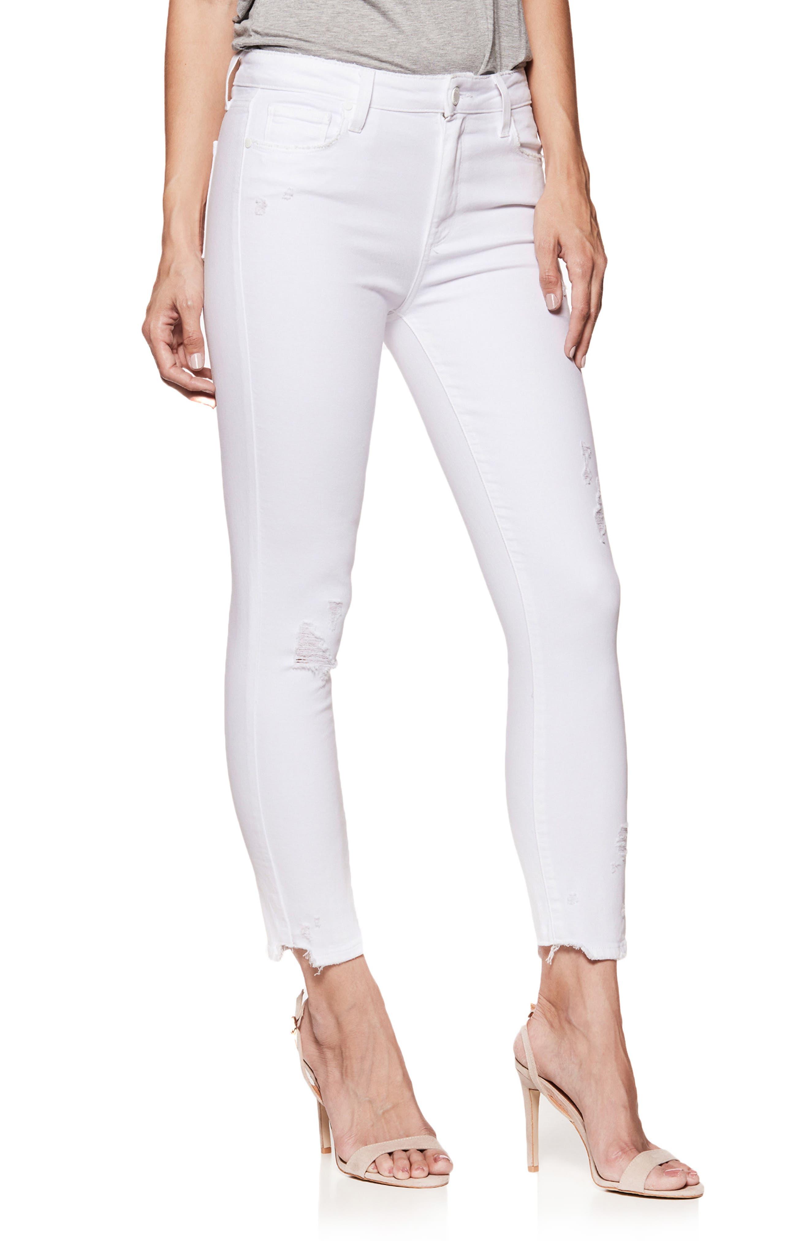 PAIGE Hoxton High Waist Ankle Skinny Jeans (Crisp White Destructed)