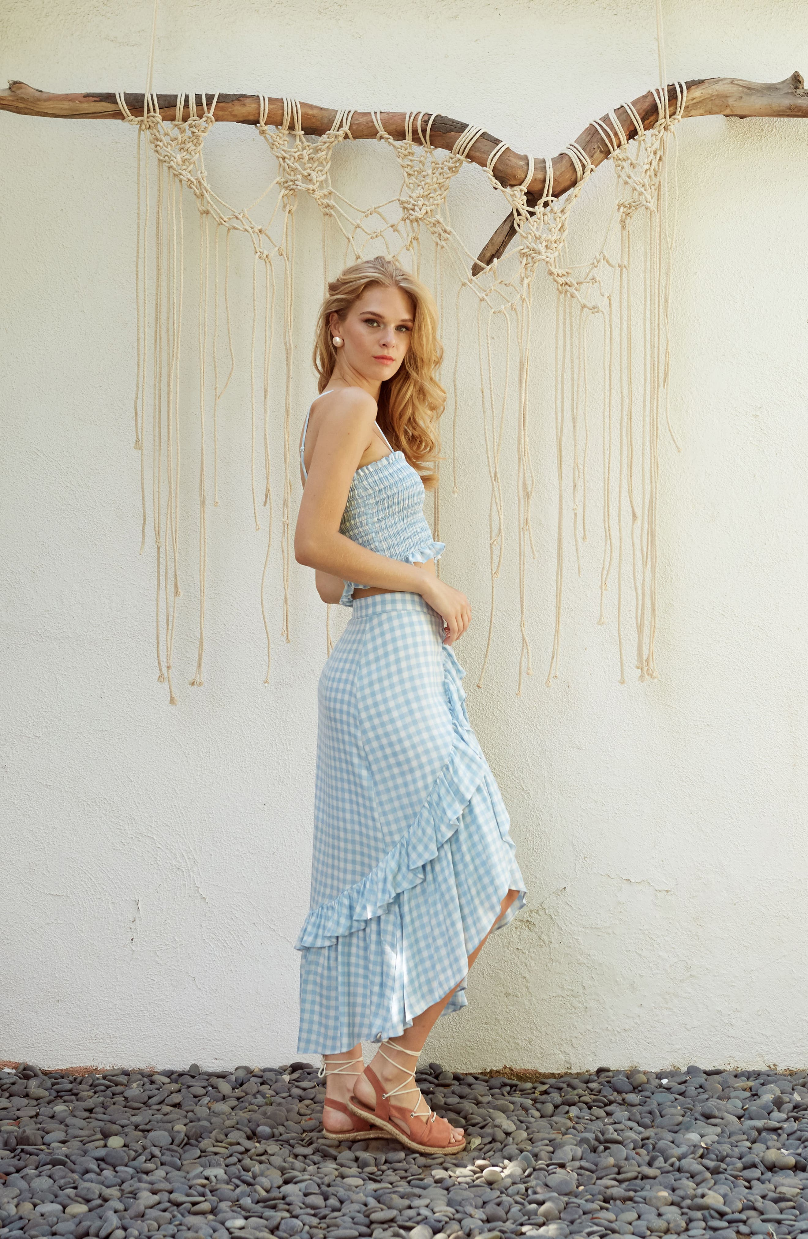 Fiesta Smocked Gingham Crop Top,                             Alternate thumbnail 10, color,                             Baby Blue