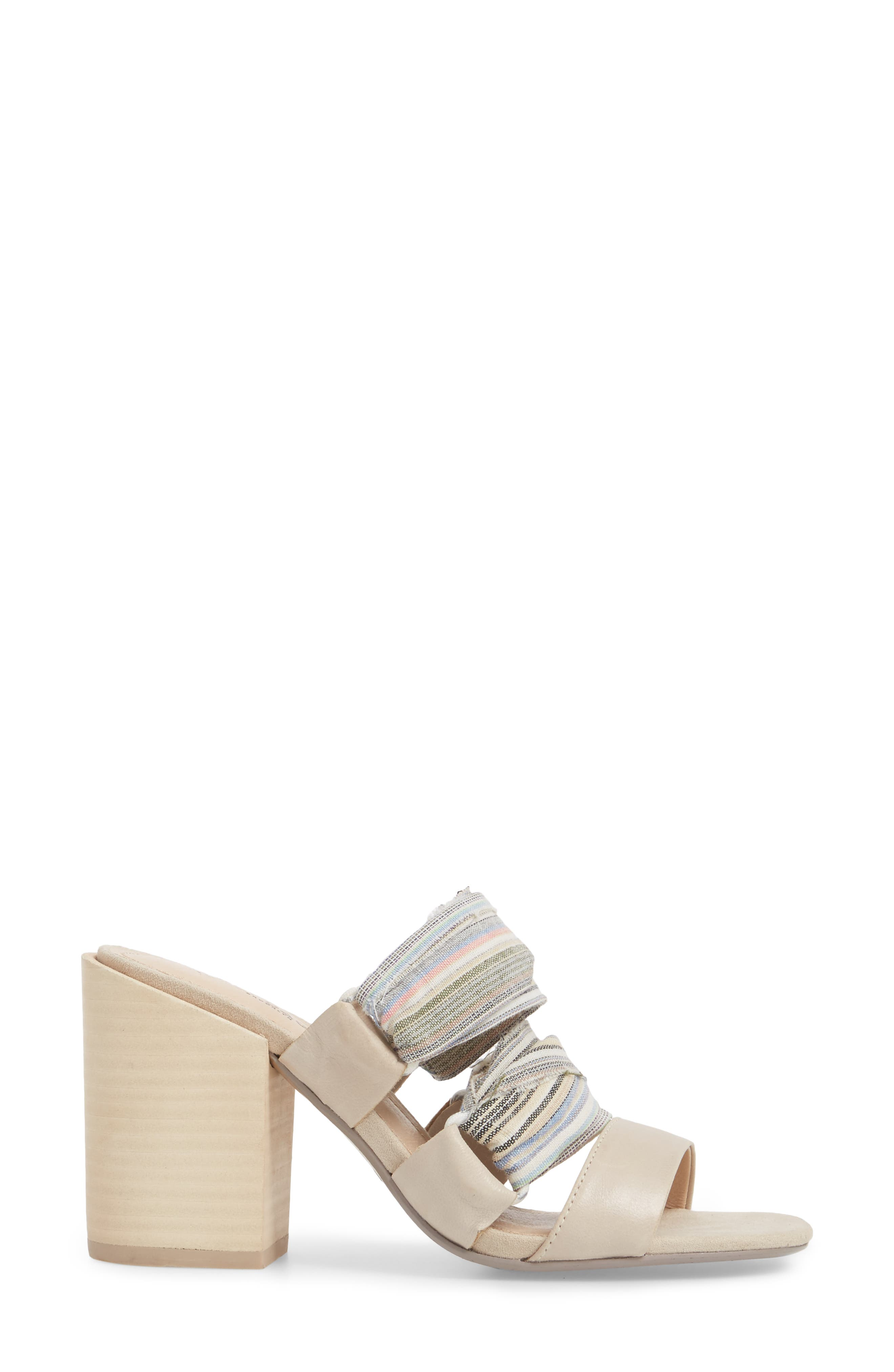 Monaco Block Heel Sandal,                             Alternate thumbnail 3, color,                             Bone/ Multi