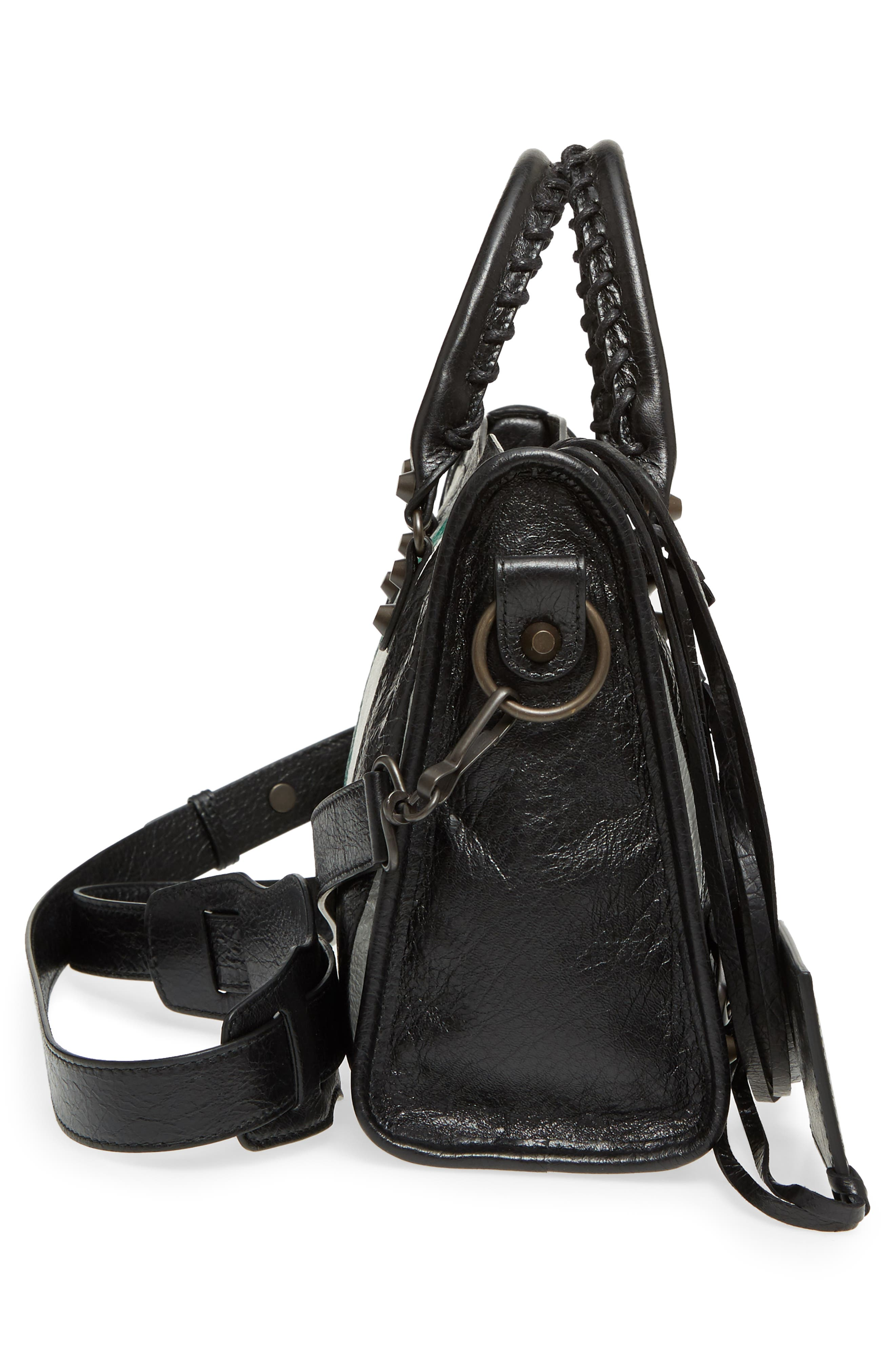 Small Classic City Leather Tote,                             Alternate thumbnail 5, color,                             Vert/ Gris Fossil/ Noir/ Blanc