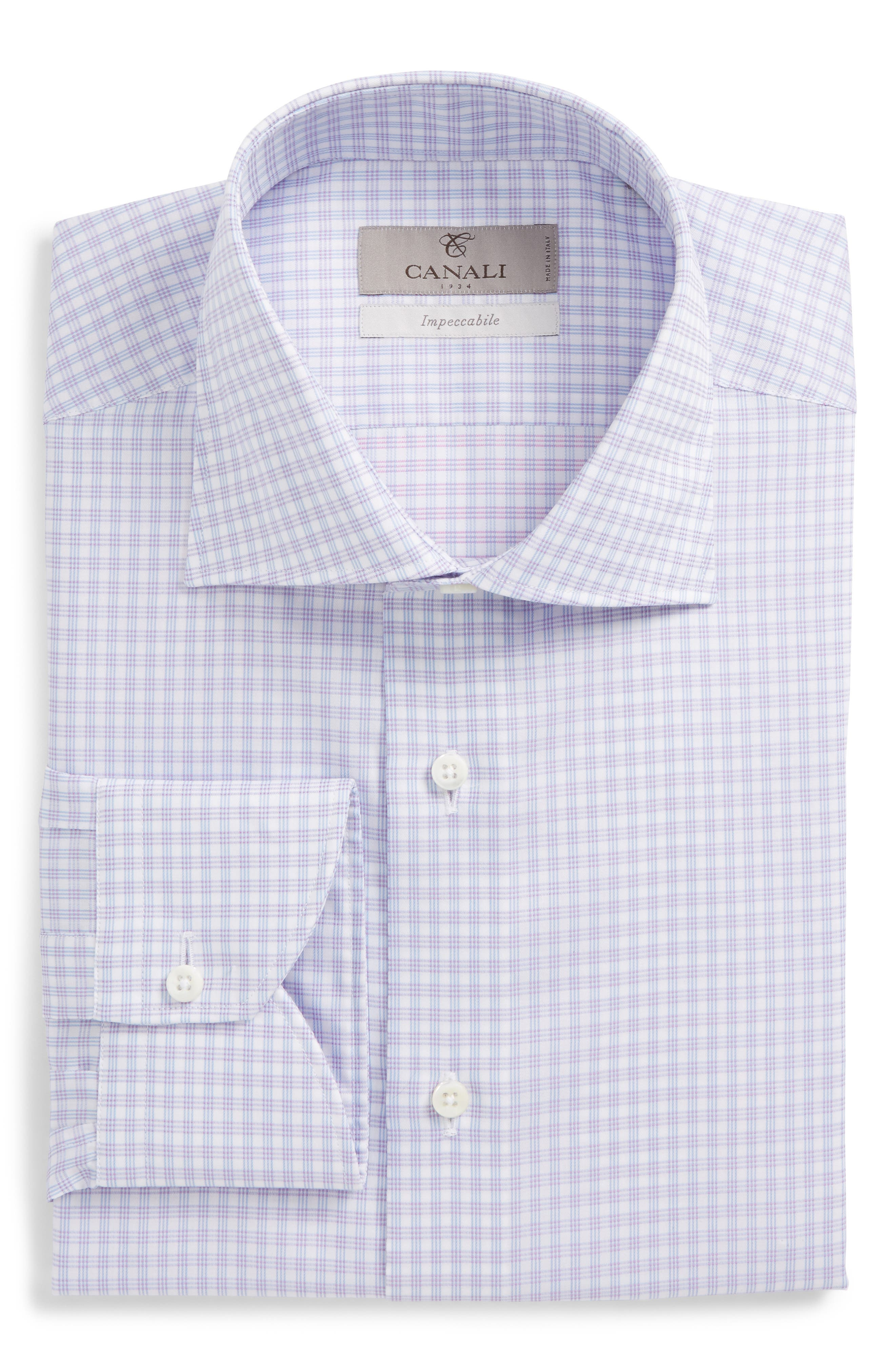 Regular Fit Check Dress Shirt,                             Main thumbnail 1, color,                             Purple