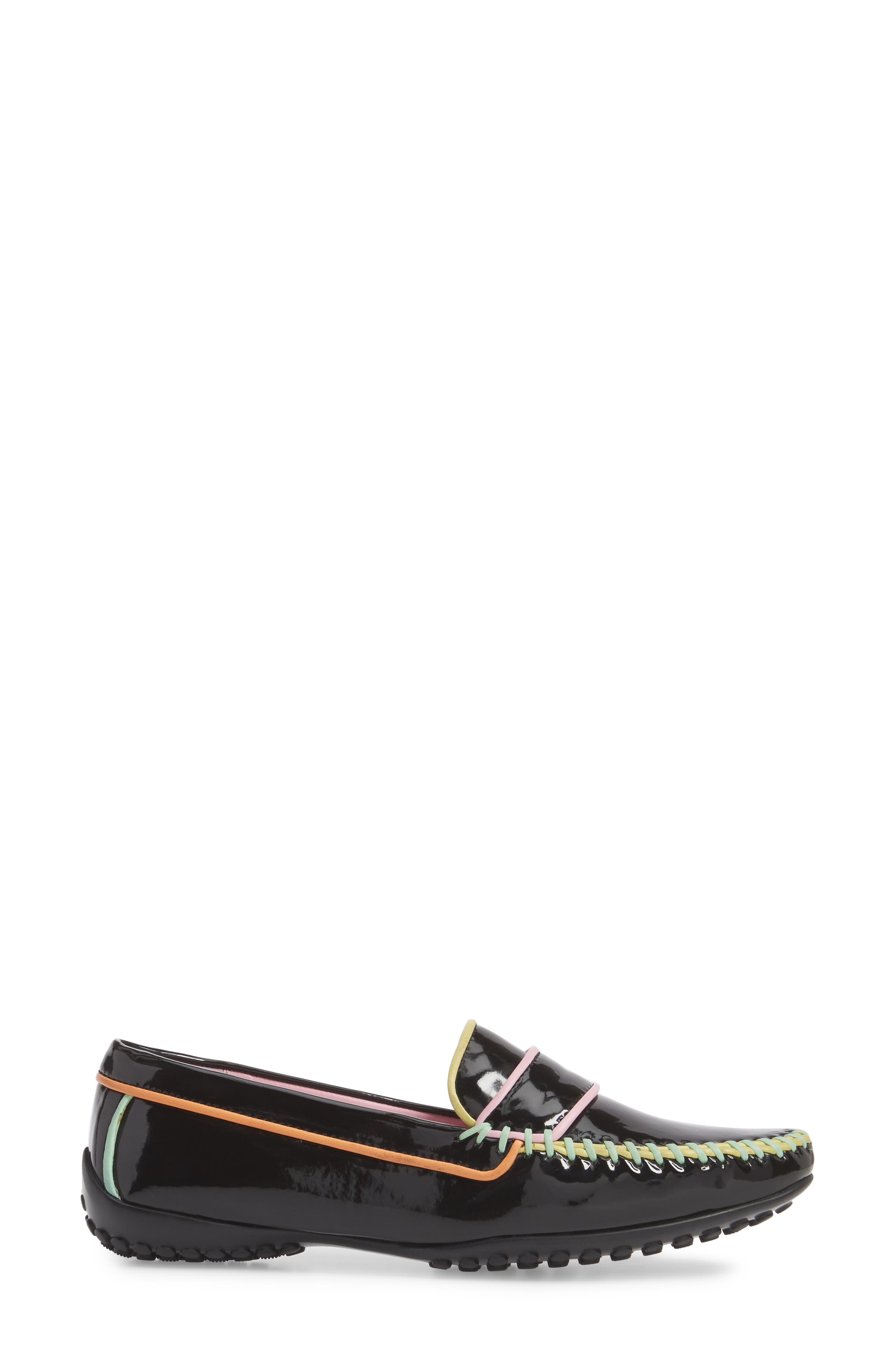 Moccasin Loafer,                             Alternate thumbnail 3, color,                             Black/ Black Patent