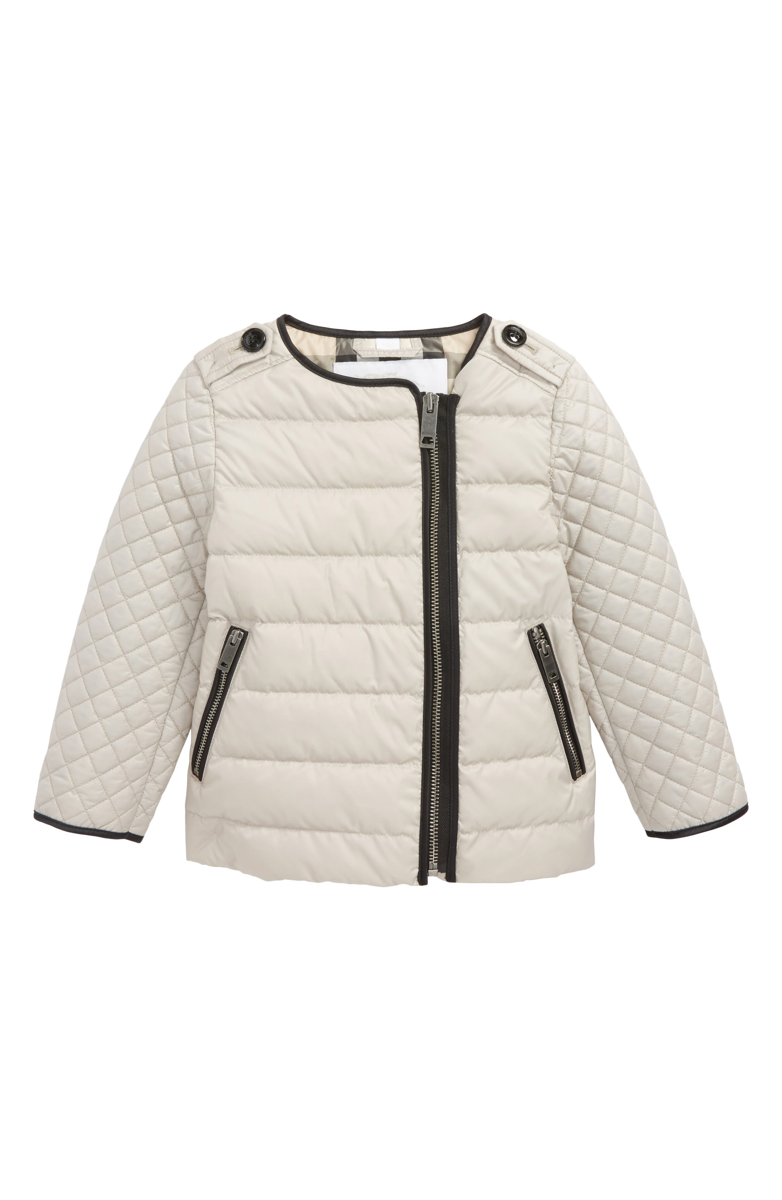 Gretel Quilted Down Jacket,                             Main thumbnail 1, color,                             Taupe Grey