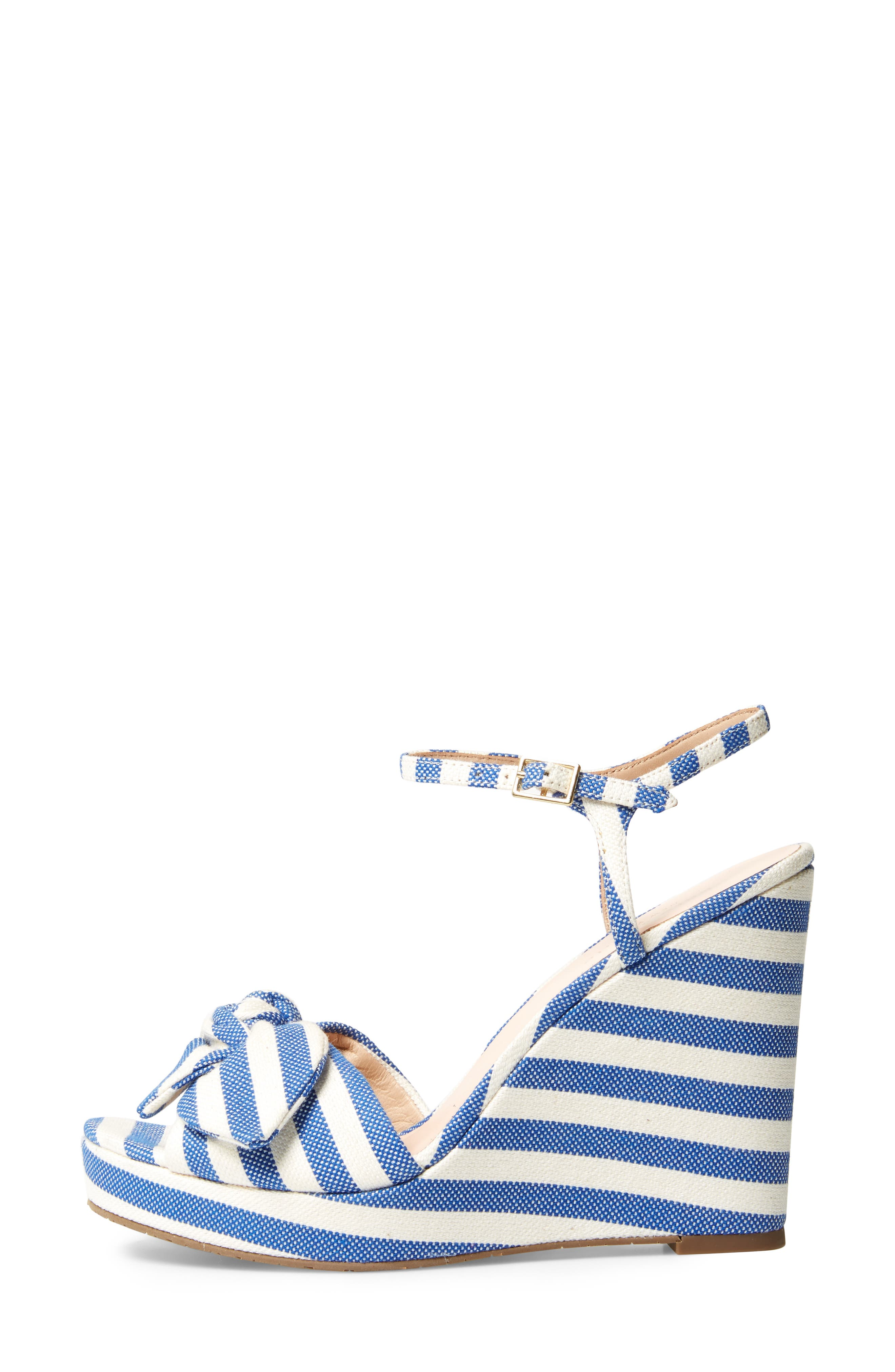 janae knot platform wedge sandal,                             Alternate thumbnail 3, color,                             Blue/Cream Stripe