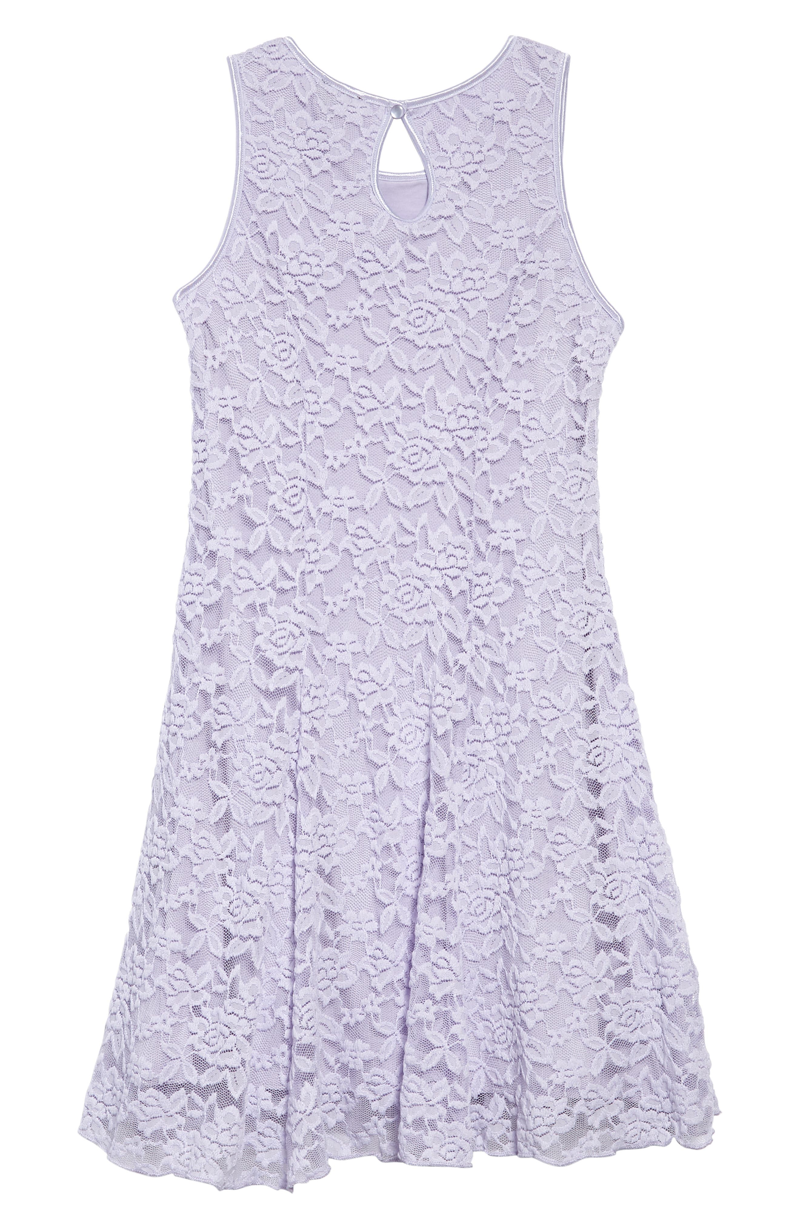 Floral Lace Sleeveless Dress,                             Alternate thumbnail 3, color,                             Lilac