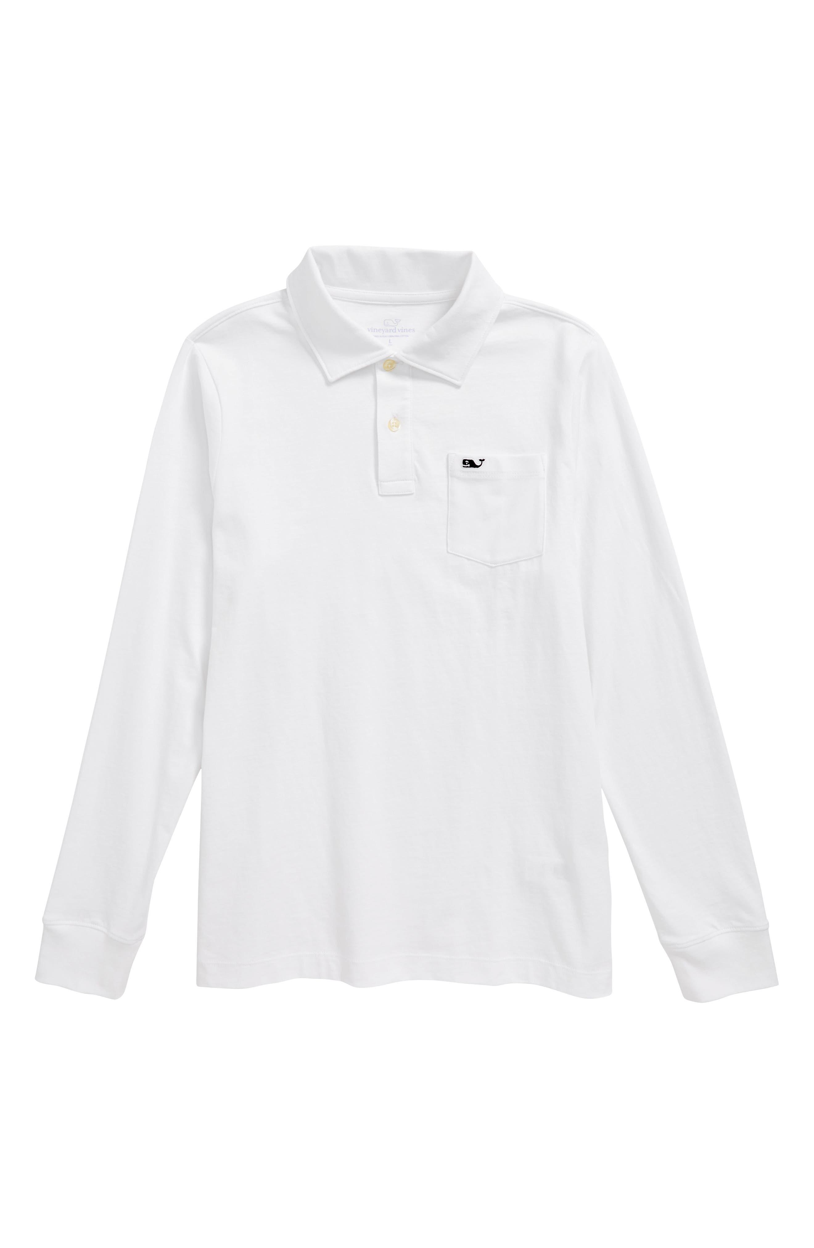 Pima Cotton Jersey Polo,                         Main,                         color, White Cap